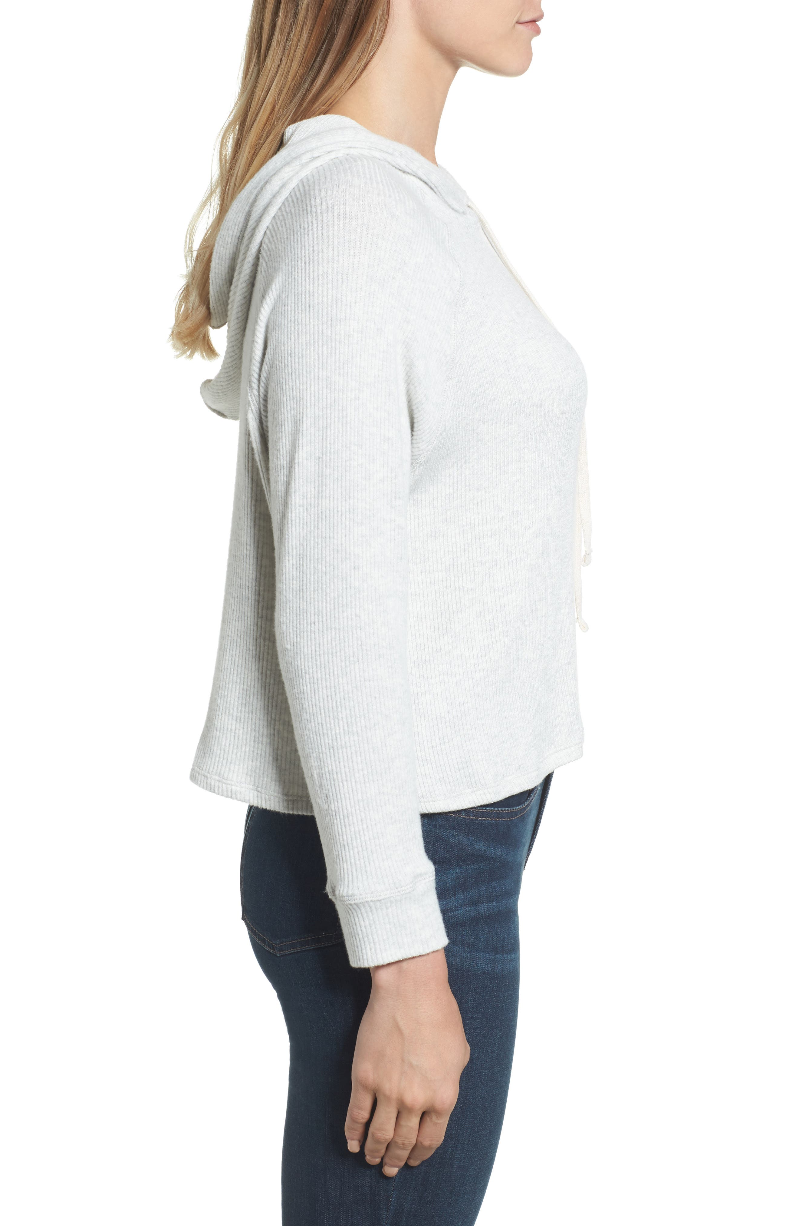 Cozy Ribbed Hoodie,                             Alternate thumbnail 3, color,                             905