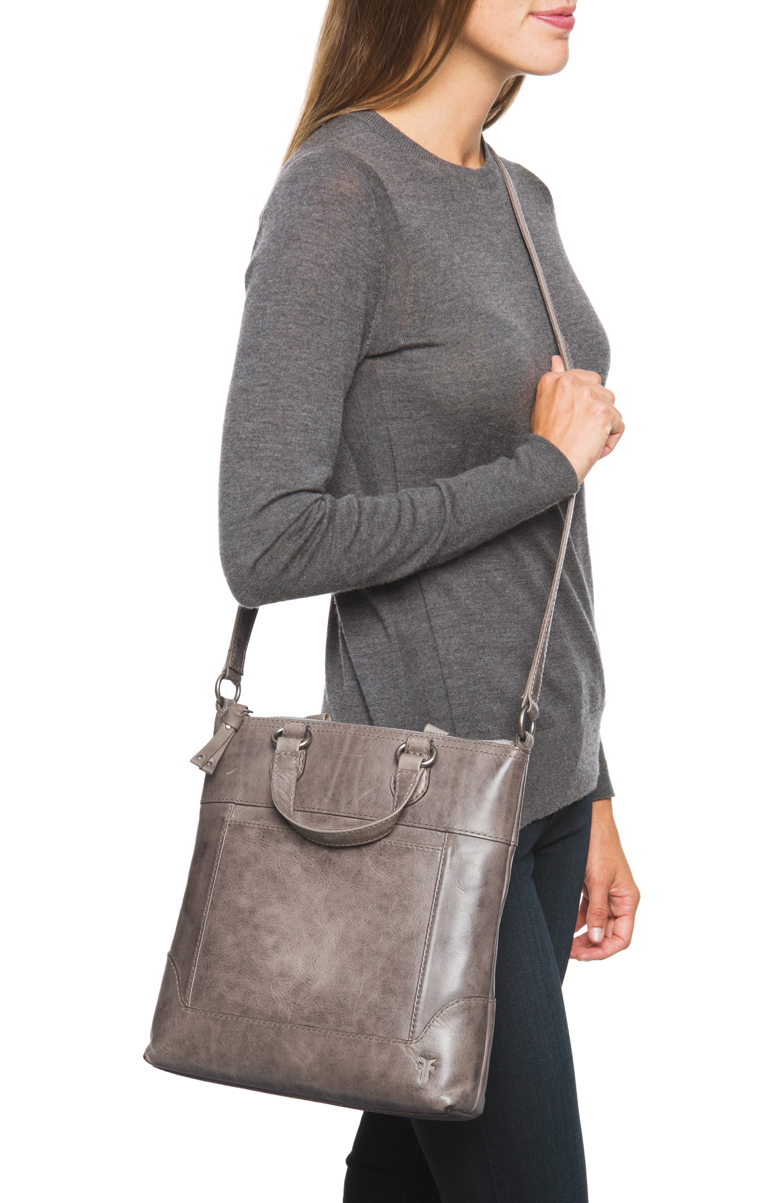 Melissa Small Leather Tote,                             Alternate thumbnail 2, color,                             ICE