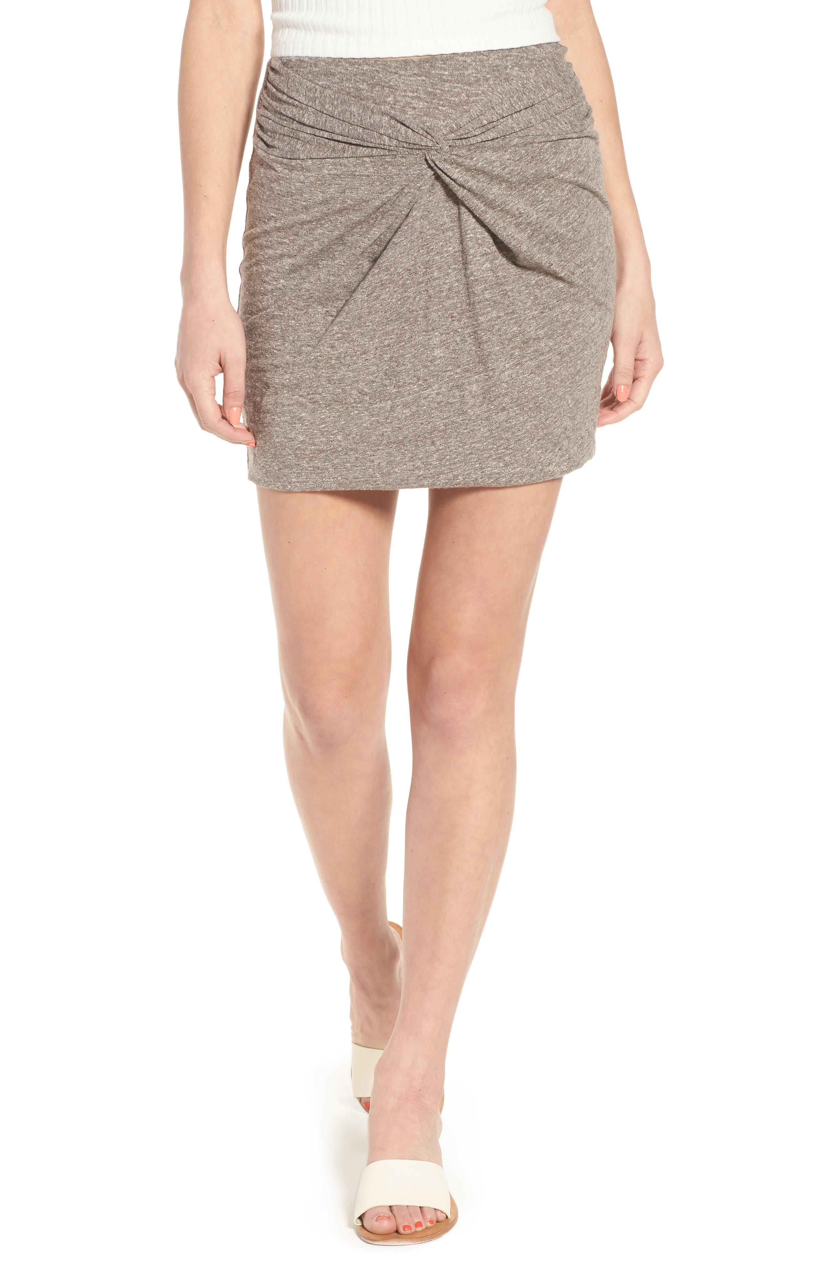 Knot Front Skirt,                             Main thumbnail 1, color,                             GREY MEDIUM HEATHER