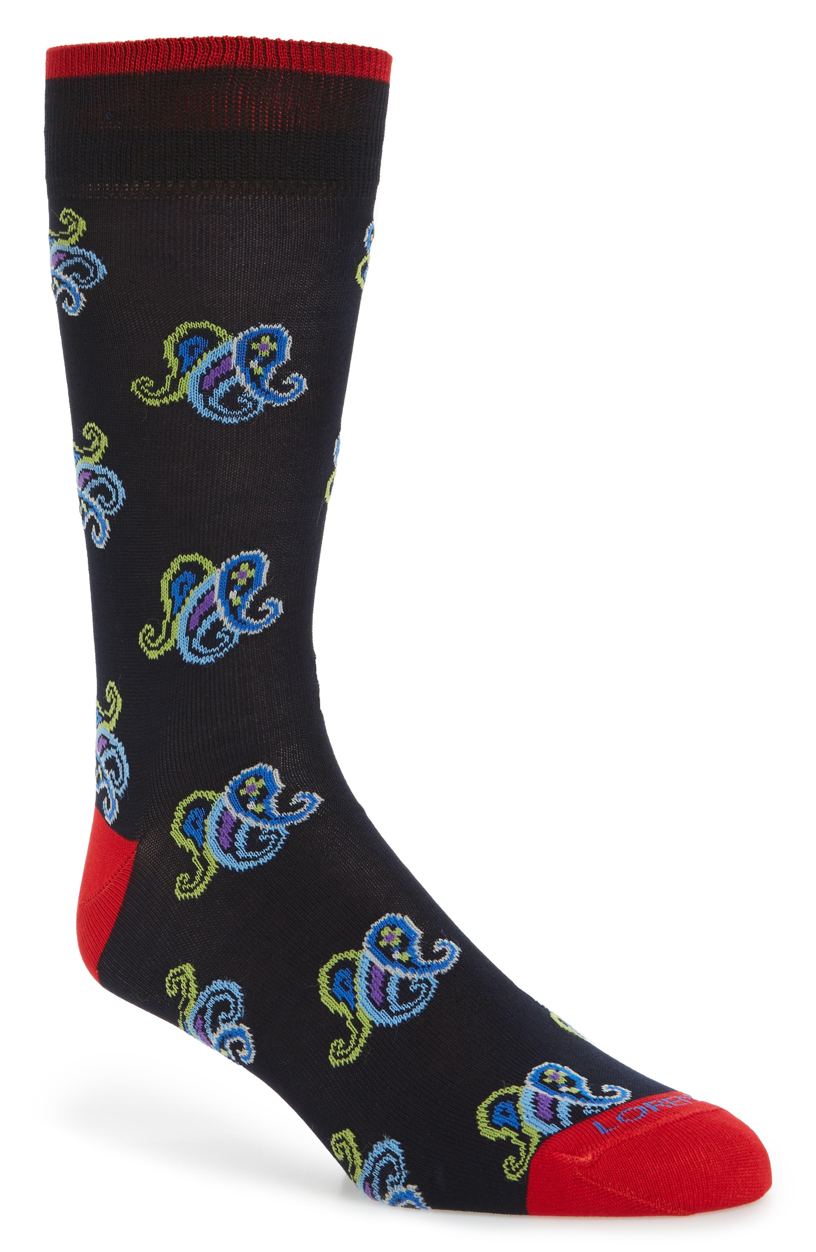 Paisley Crew Socks,                             Main thumbnail 1, color,