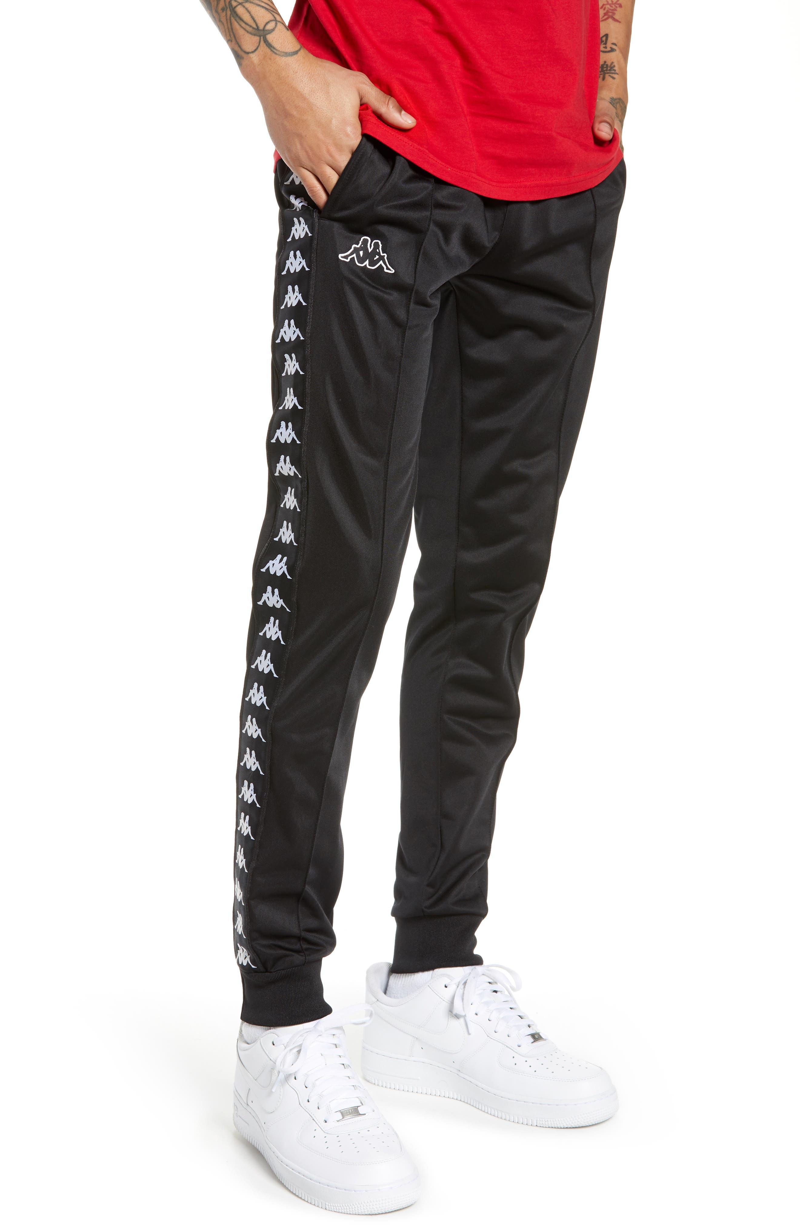 Active Banded Track Pants,                             Main thumbnail 1, color,                             BLACK/ BLACK