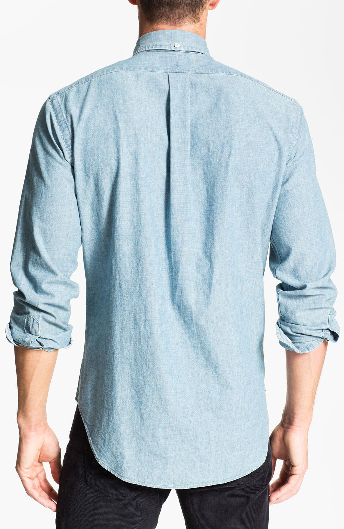 Classic Fit Chambray Sport Shirt,                             Alternate thumbnail 3, color,                             420