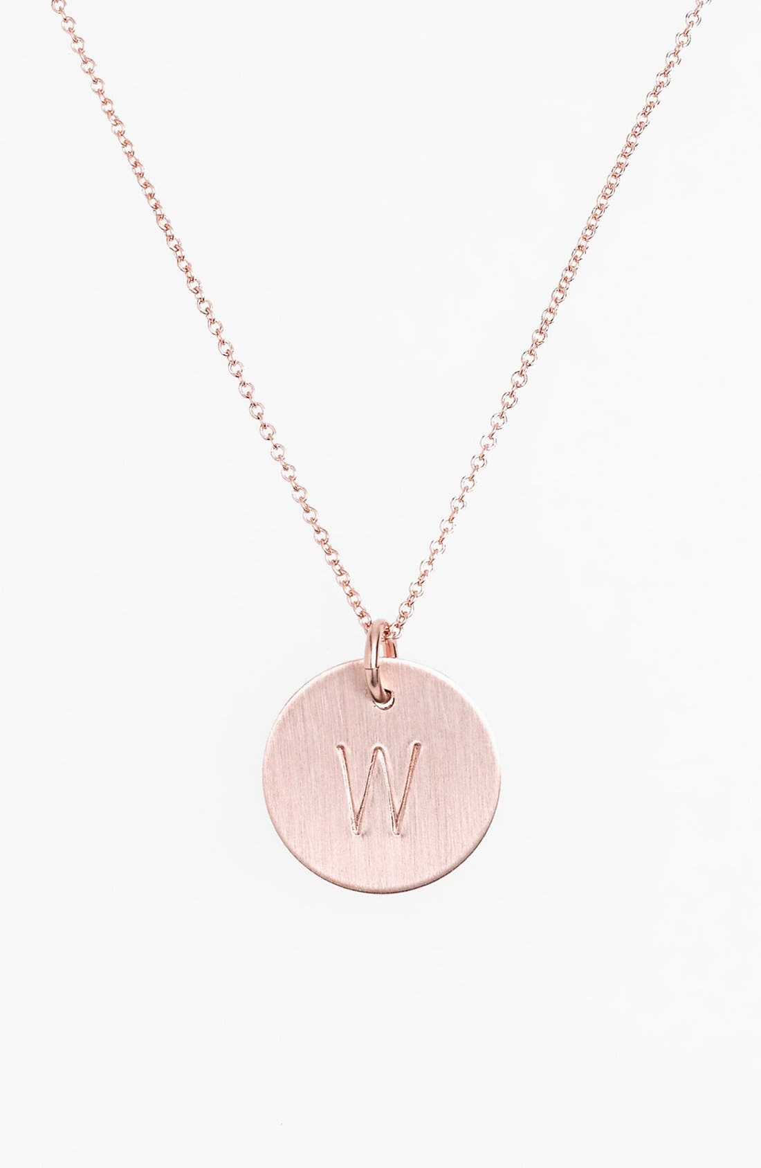 14k-Rose Gold Fill Initial Disc Necklace,                             Main thumbnail 23, color,