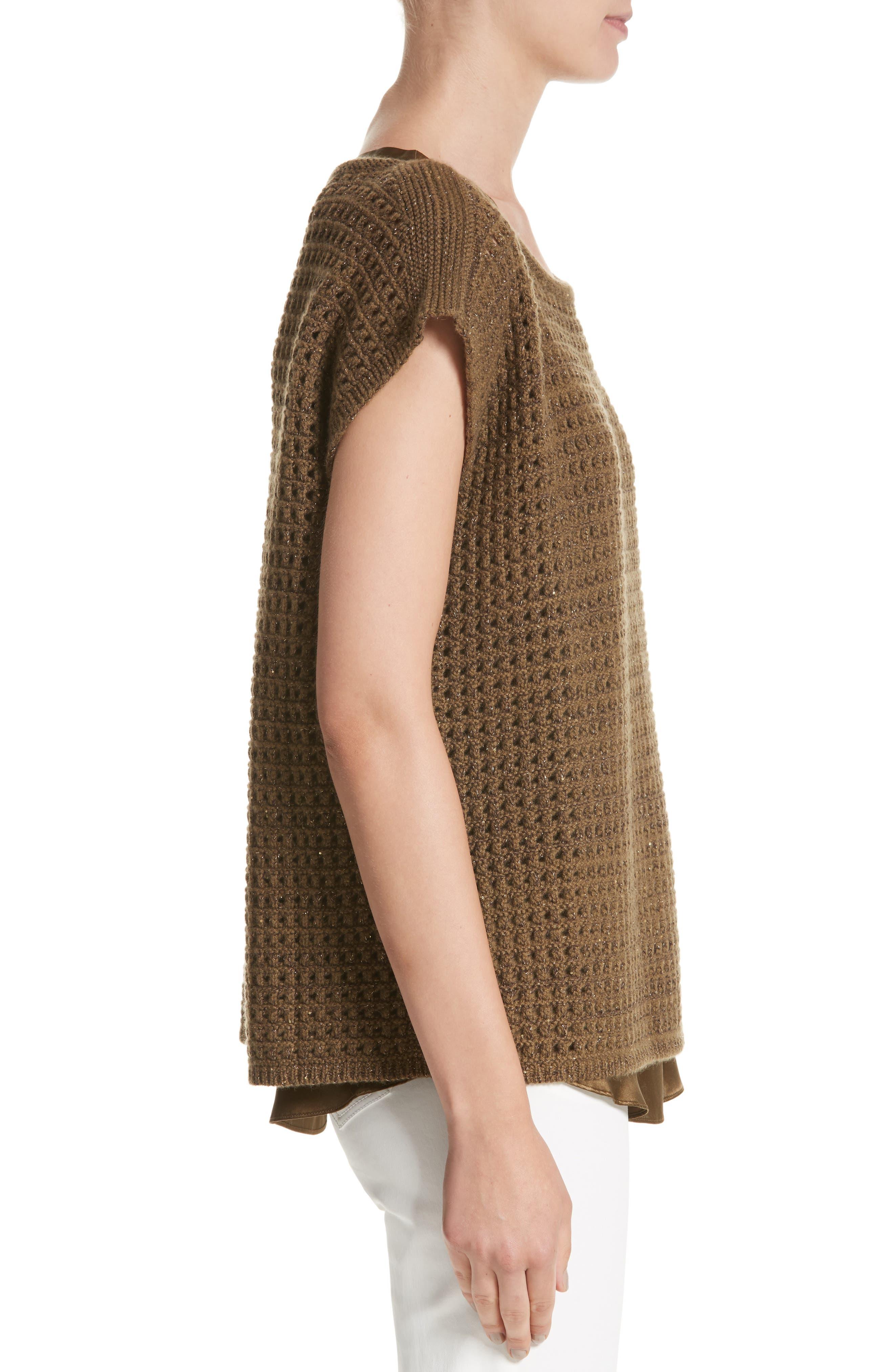Cashmere Open Stitch Sequin Sweater,                             Alternate thumbnail 3, color,                             242