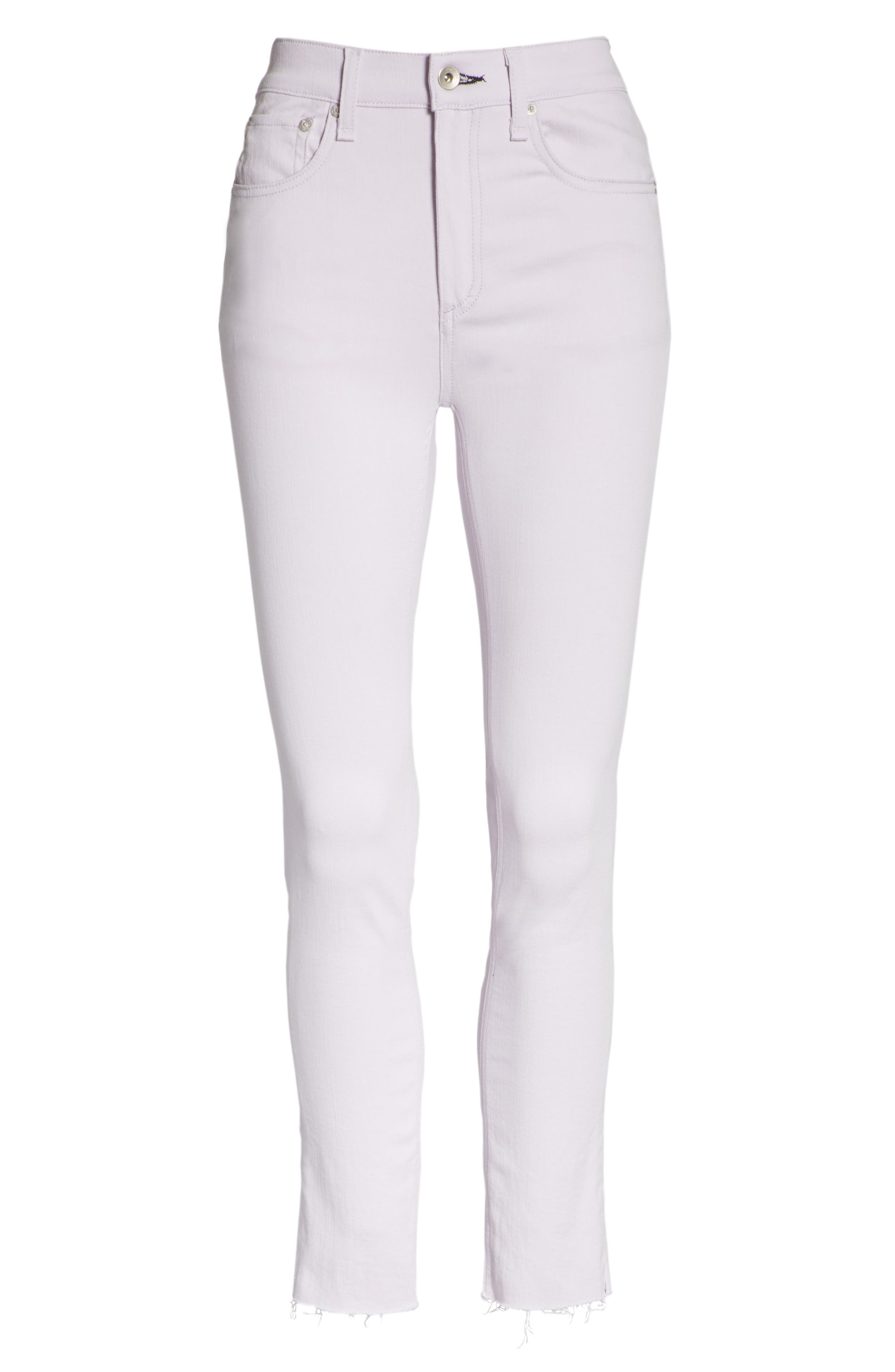 High Waist Ankle Skinny Jeans,                             Alternate thumbnail 6, color,                             LILAC