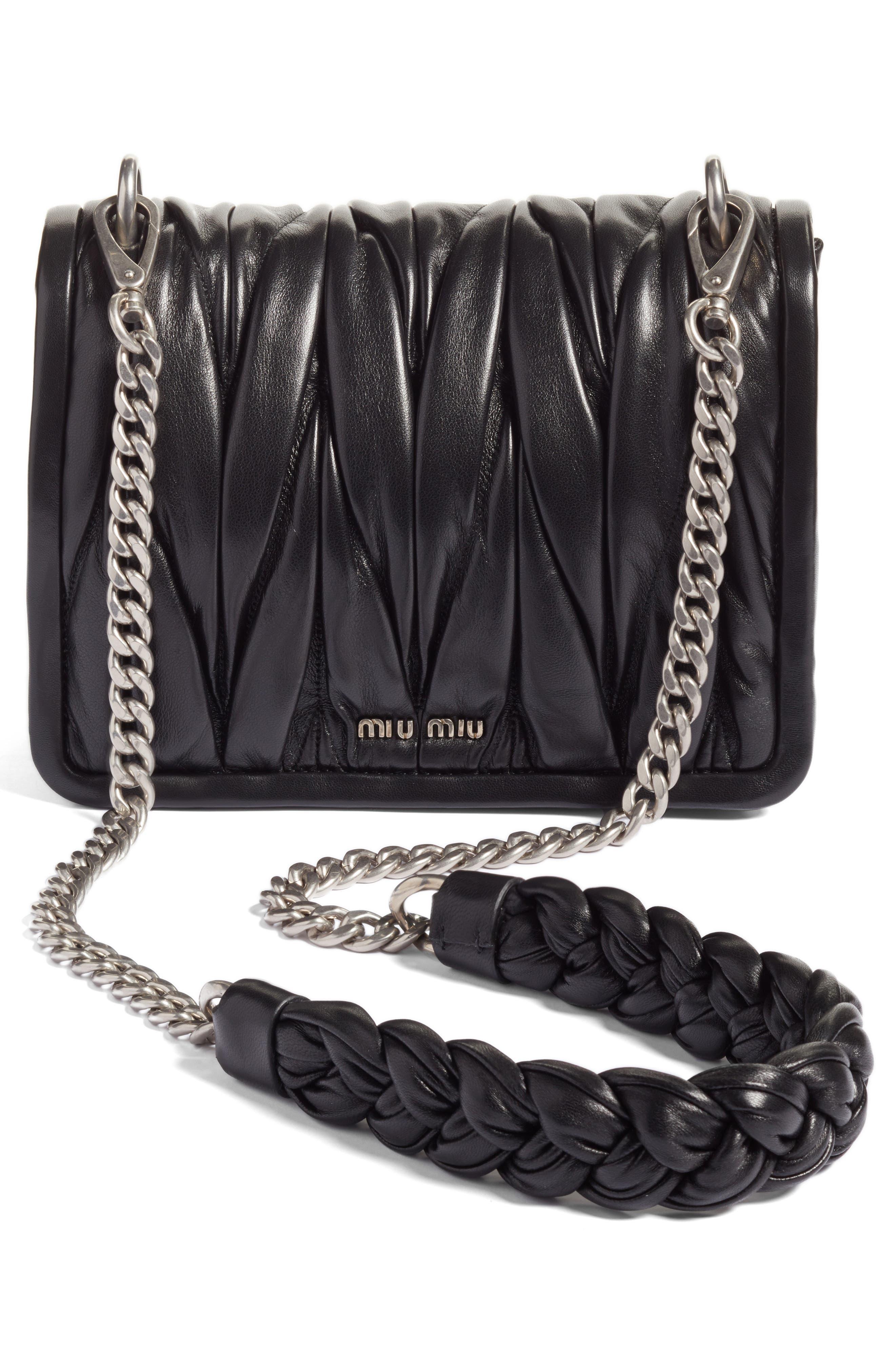 Matelassé Leather Shoulder Bag,                             Alternate thumbnail 3, color,                             001