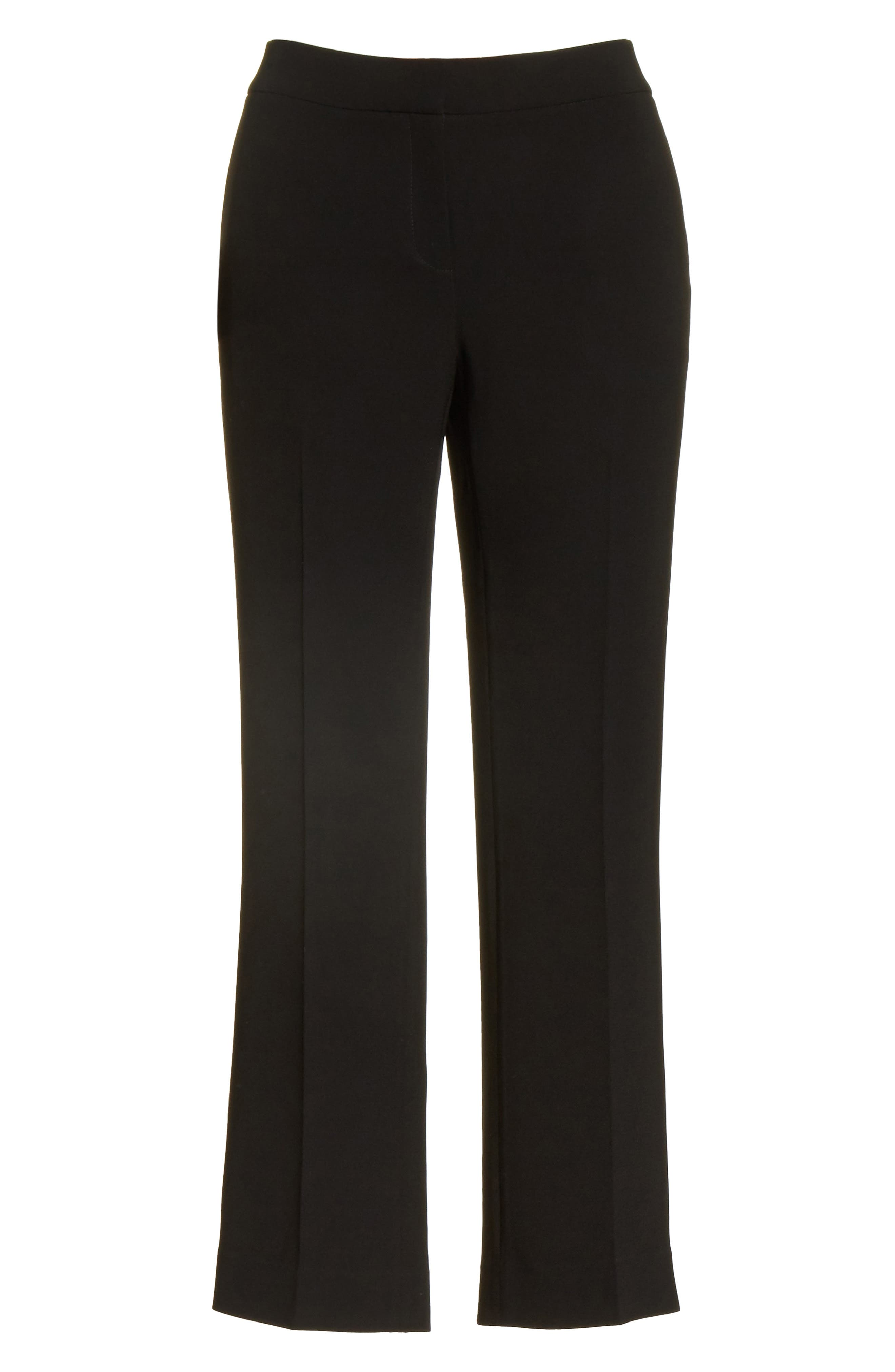 Manhattan Finesse Crepe Crop Flare Pants,                             Alternate thumbnail 7, color,                             BLACK