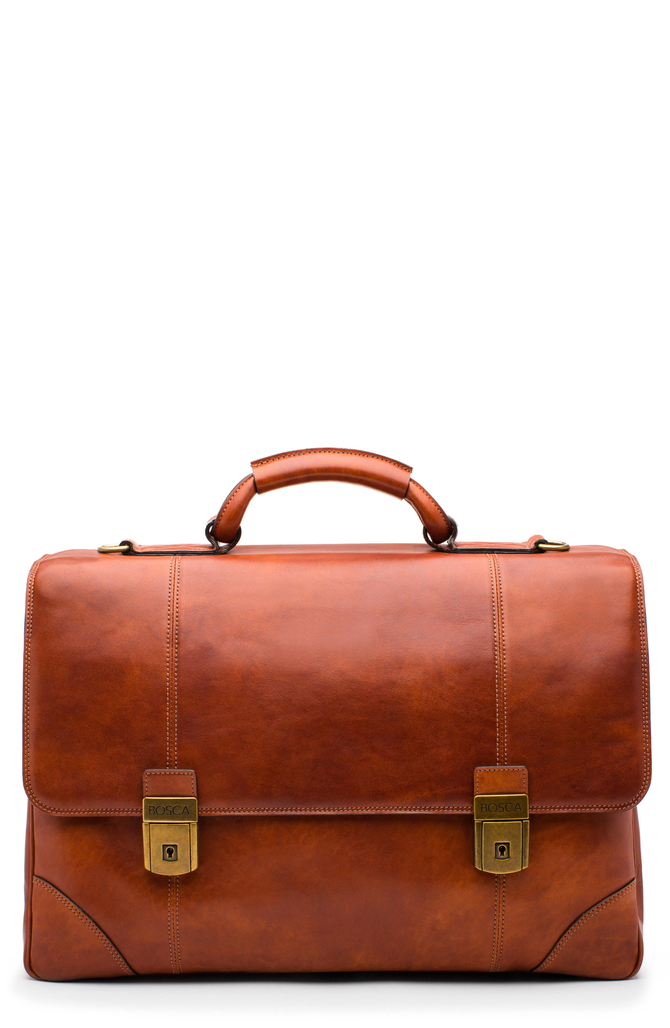 Dolce Leather Briefcase,                         Main,                         color, AMBER