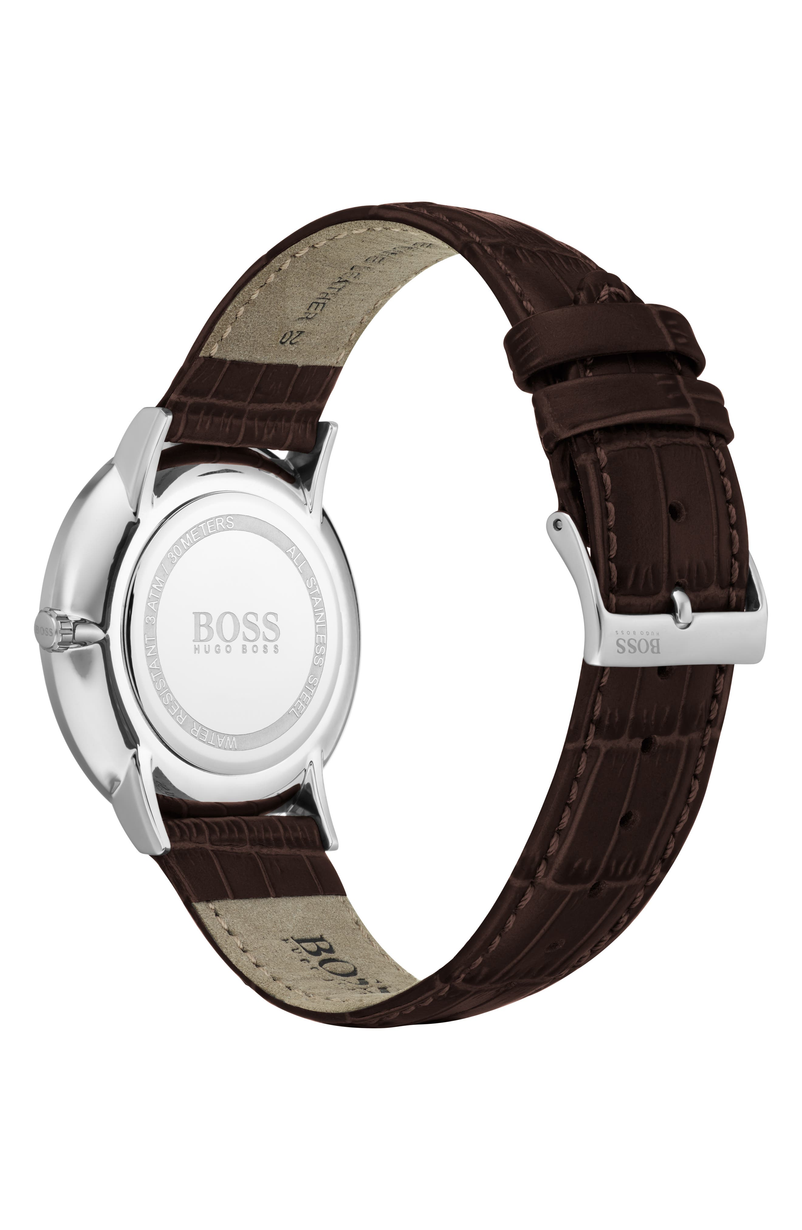 William Leather Strap Watch, 40mm,                             Alternate thumbnail 2, color,                             WHITE/ BROWN