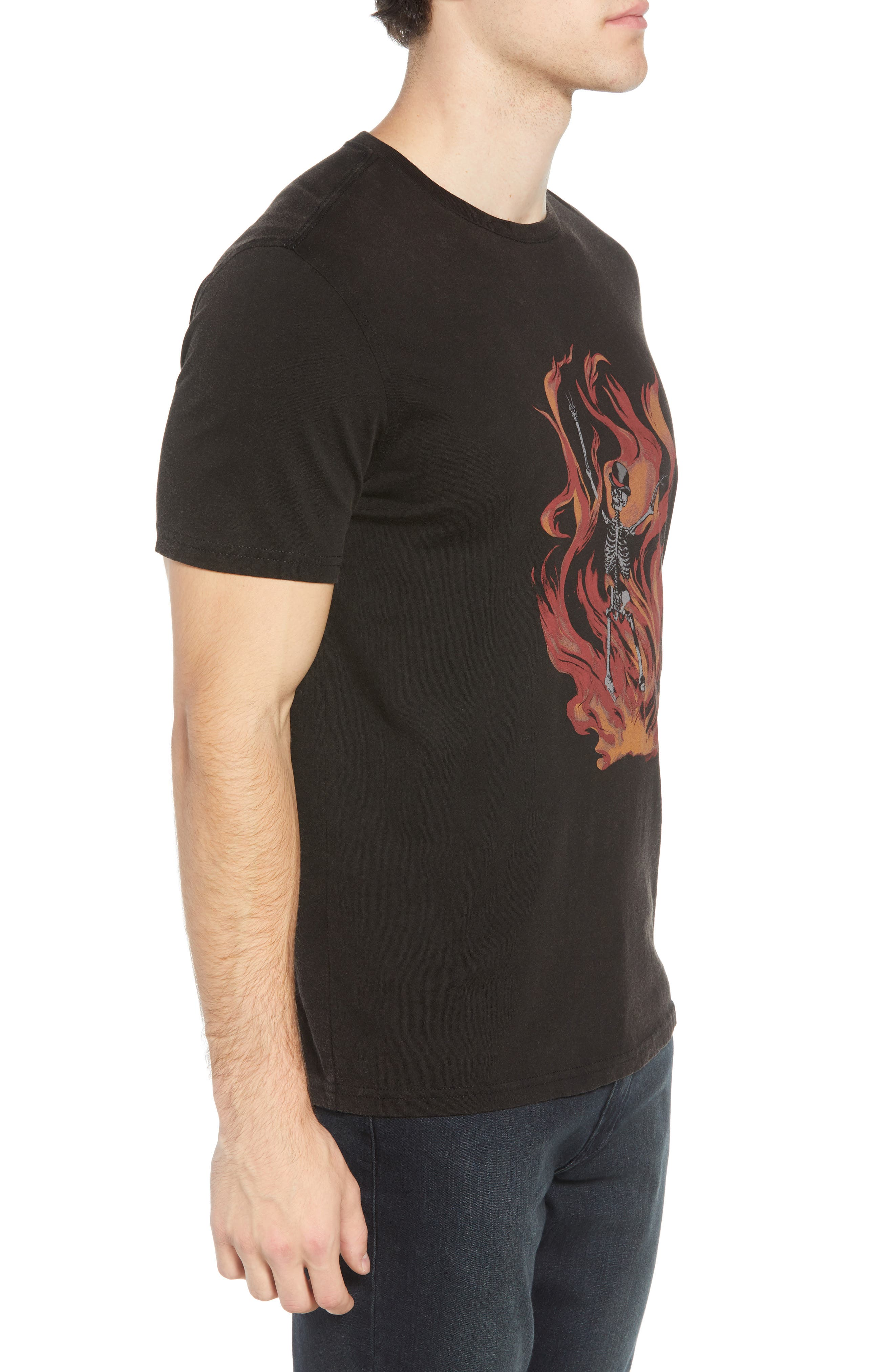 Fire Skeleton Graphic T-Shirt,                             Alternate thumbnail 3, color,                             001