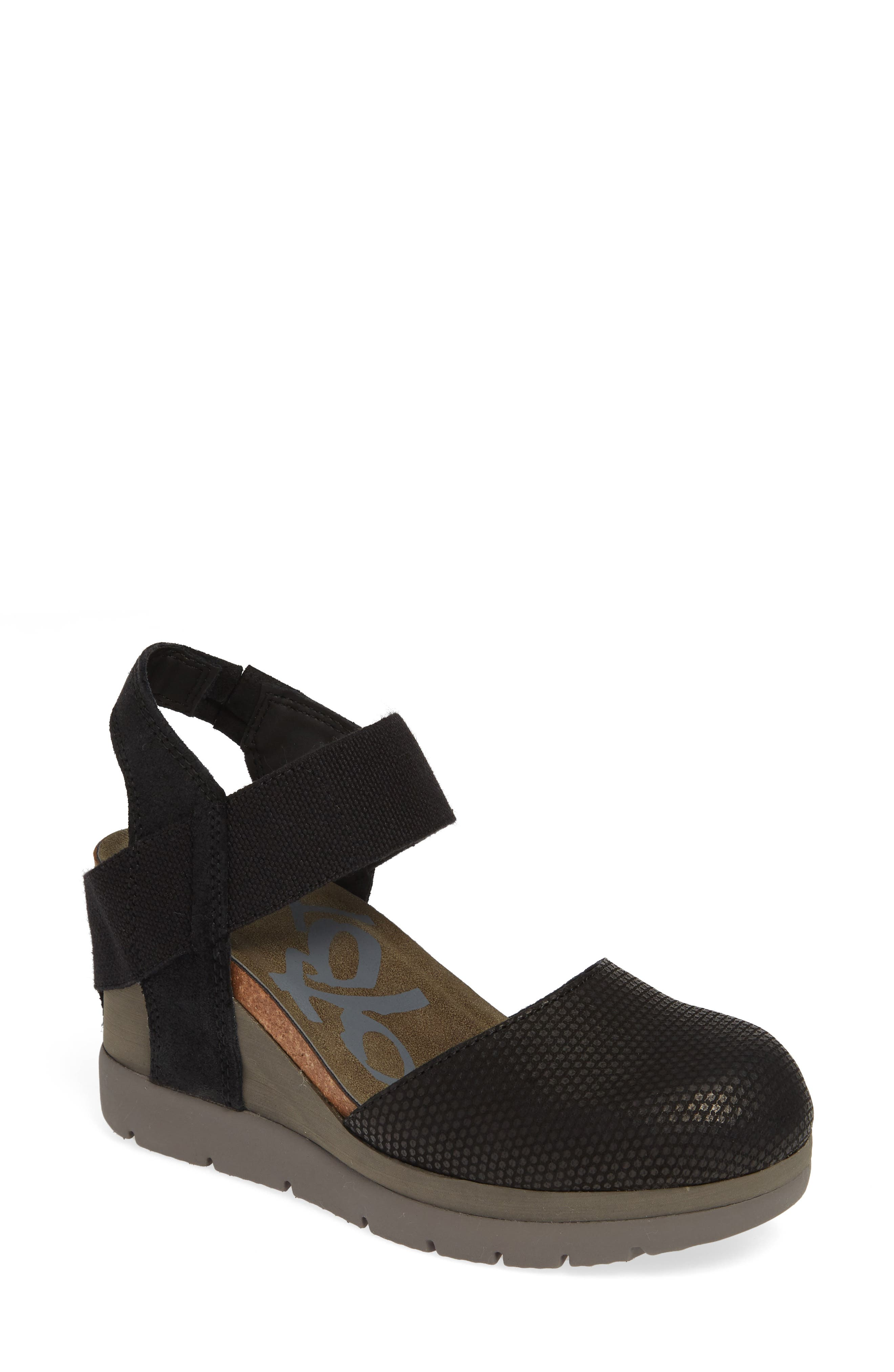 Carry On Wedge Sandal,                             Main thumbnail 1, color,                             BLACK LEATHER