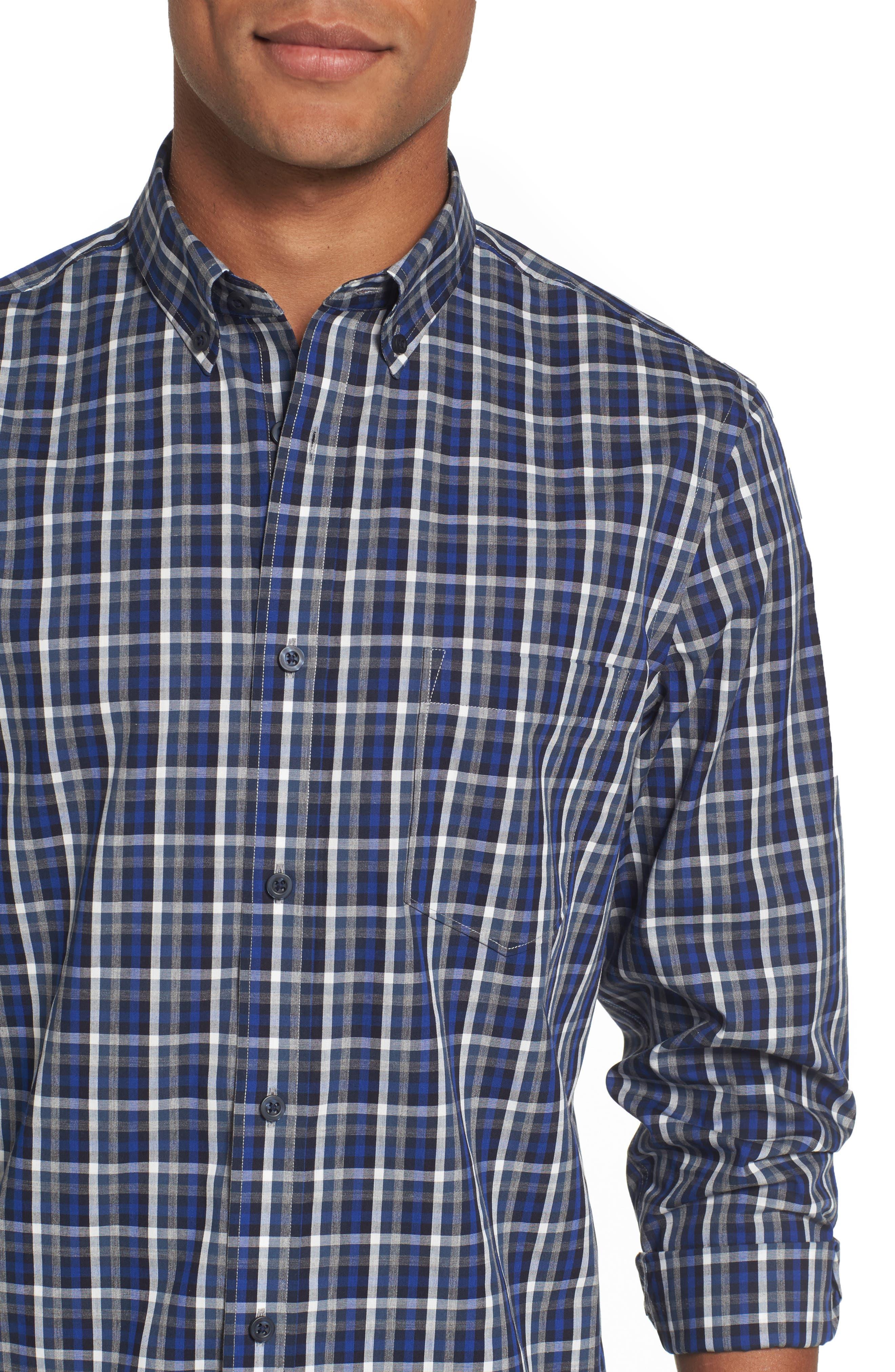 Regular Fit Non-Iron Spade Check Dress Shirt,                             Alternate thumbnail 4, color,                             401