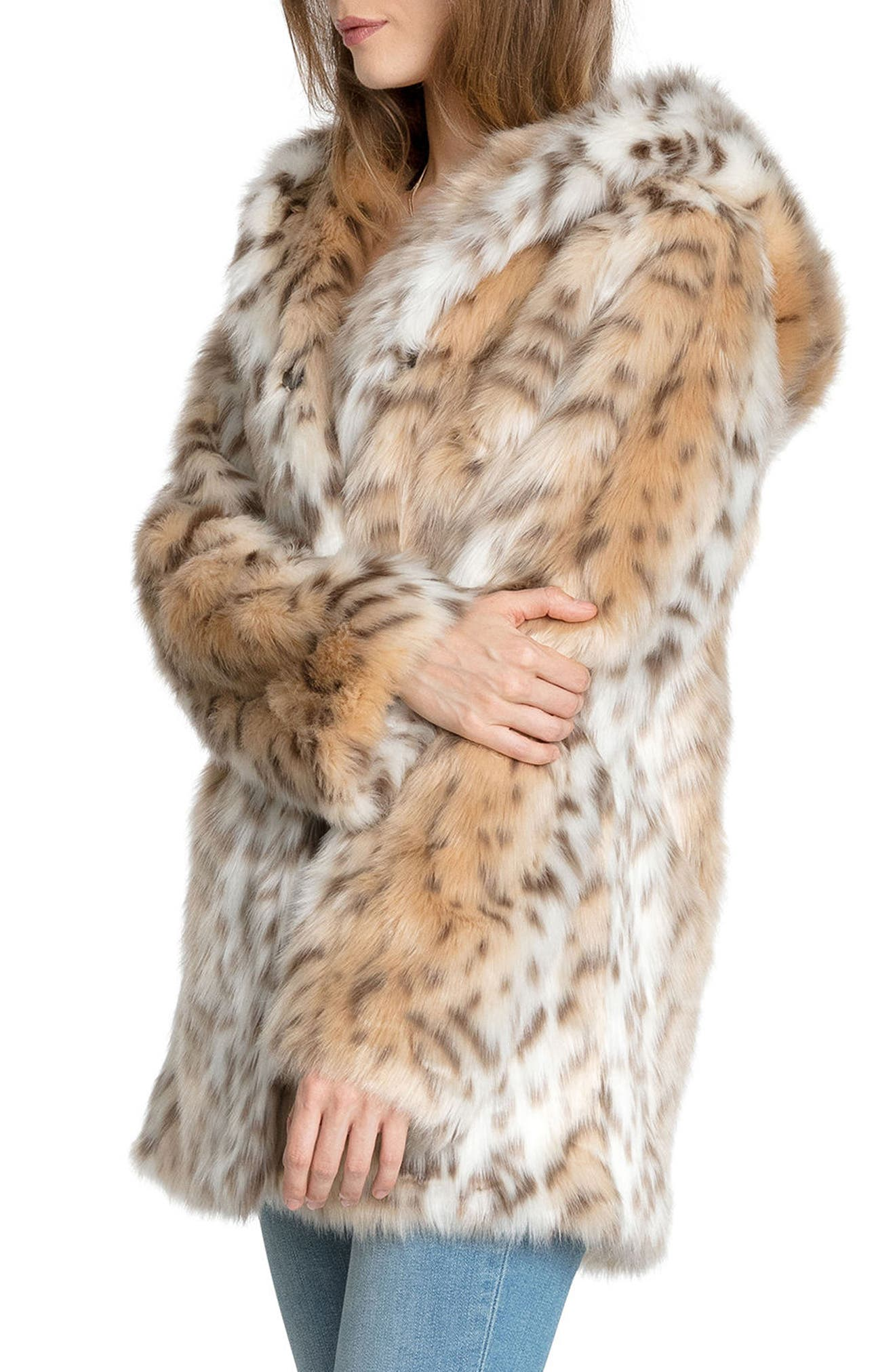 Hooded Faux Fur Jacket,                             Alternate thumbnail 3, color,                             251