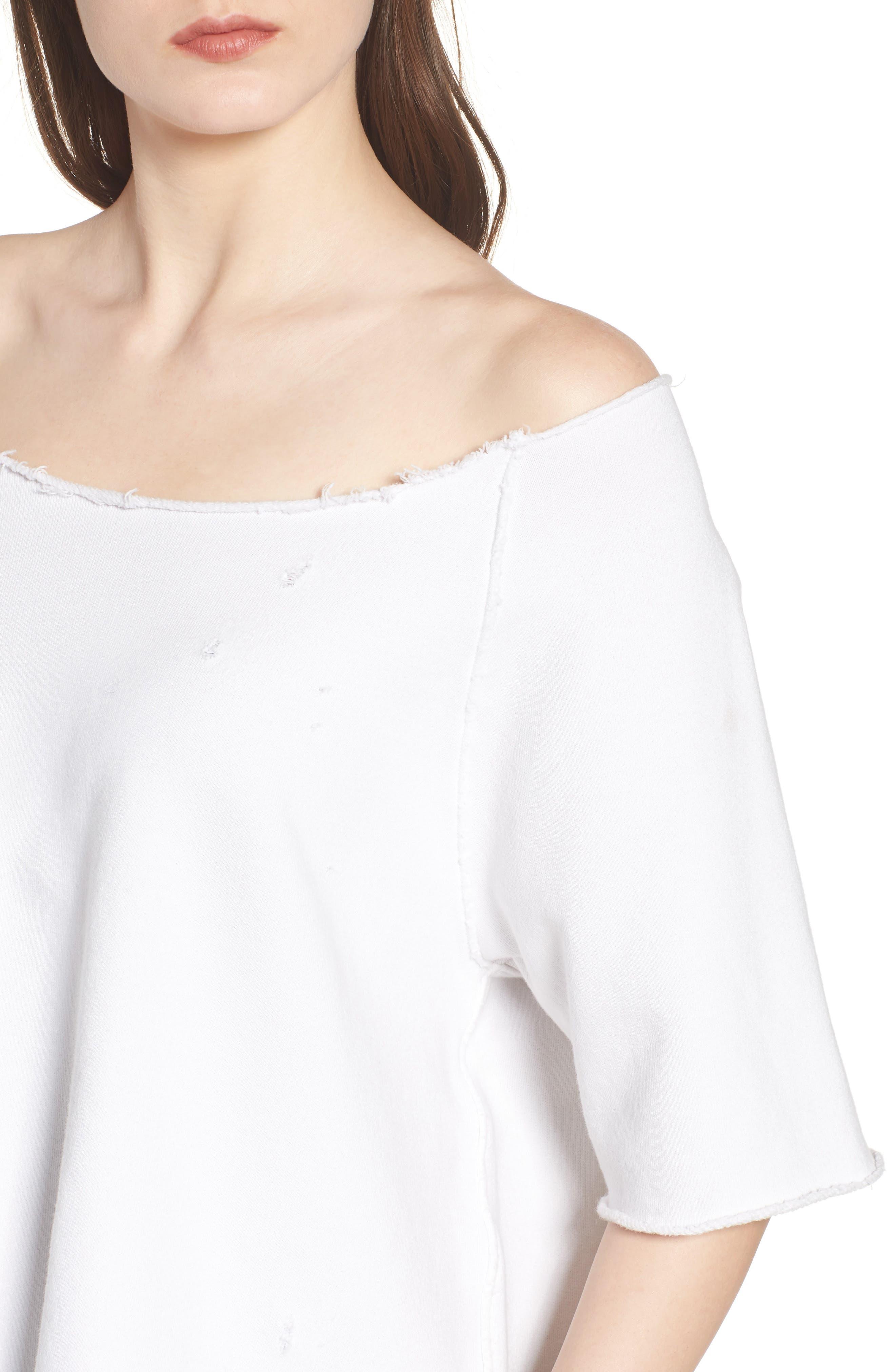 Raglan Off the Shoulder Sweatshirt,                             Alternate thumbnail 4, color,                             100