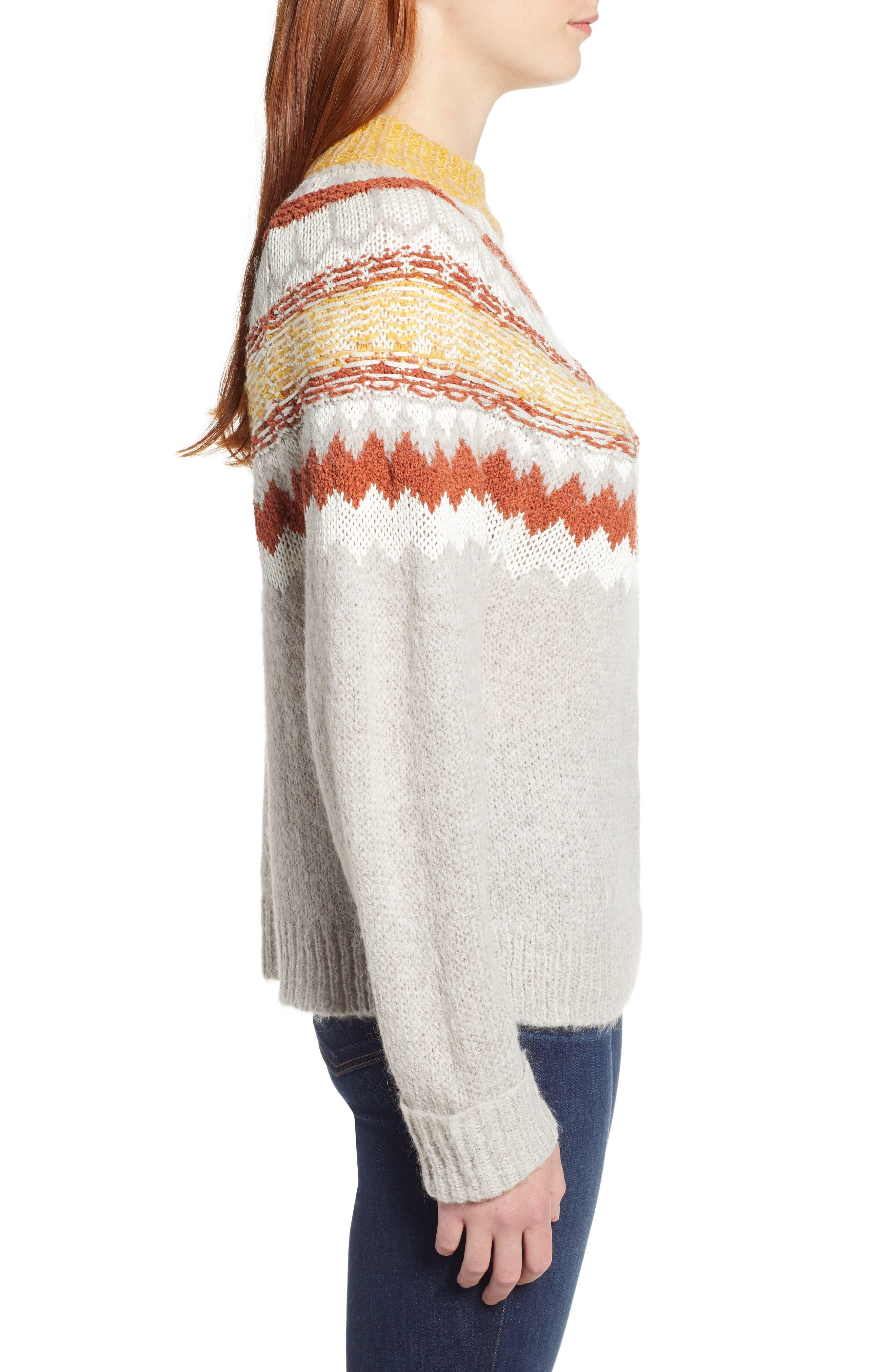 Chunky Jacquard Sweater,                             Alternate thumbnail 3, color,                             TAN FOLIAGE PATTERN
