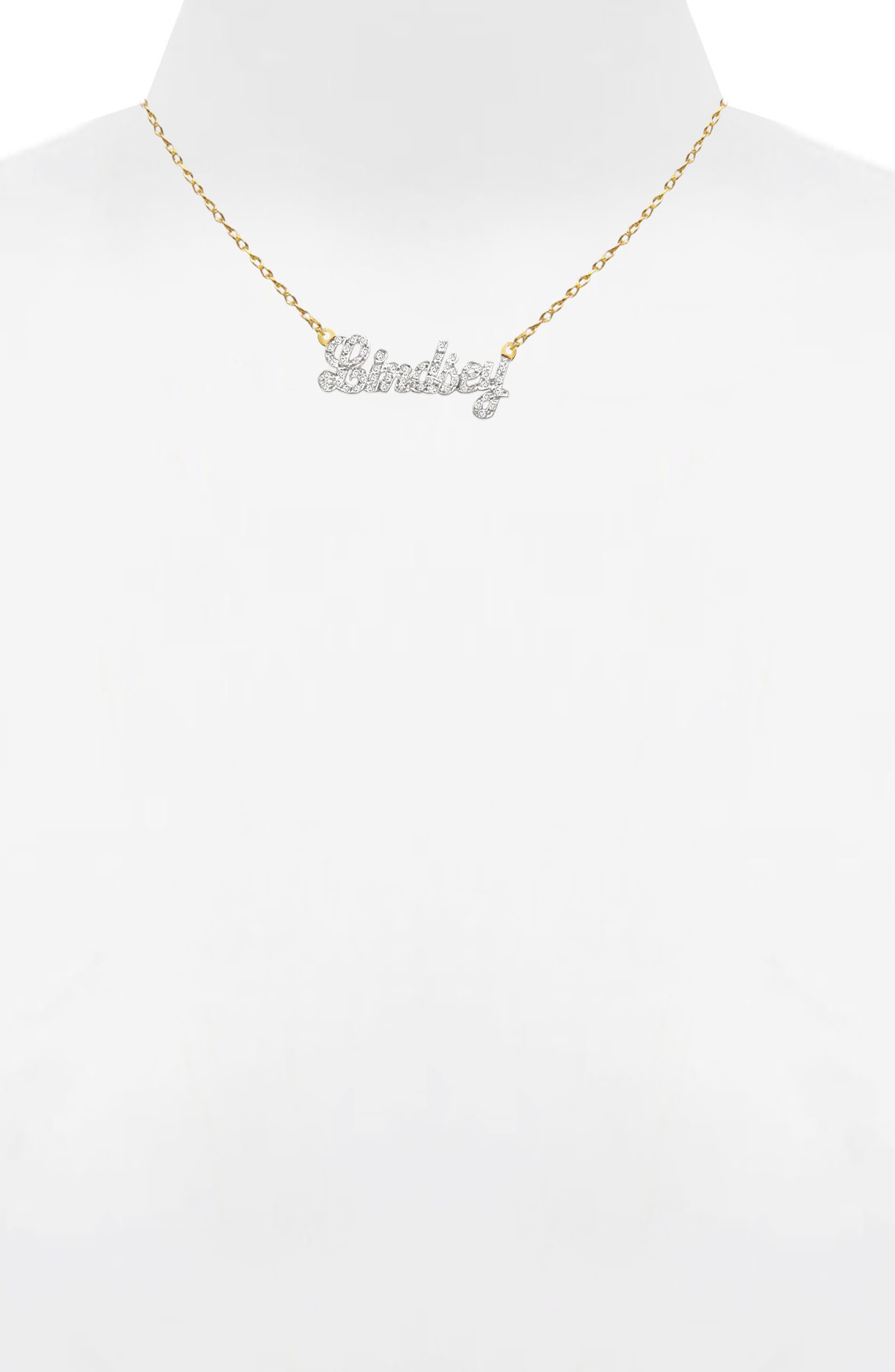 Jane Basch Personalized Nameplate Diamond Pendant Necklace,                             Alternate thumbnail 2, color,                             14K YELLOW GOLD
