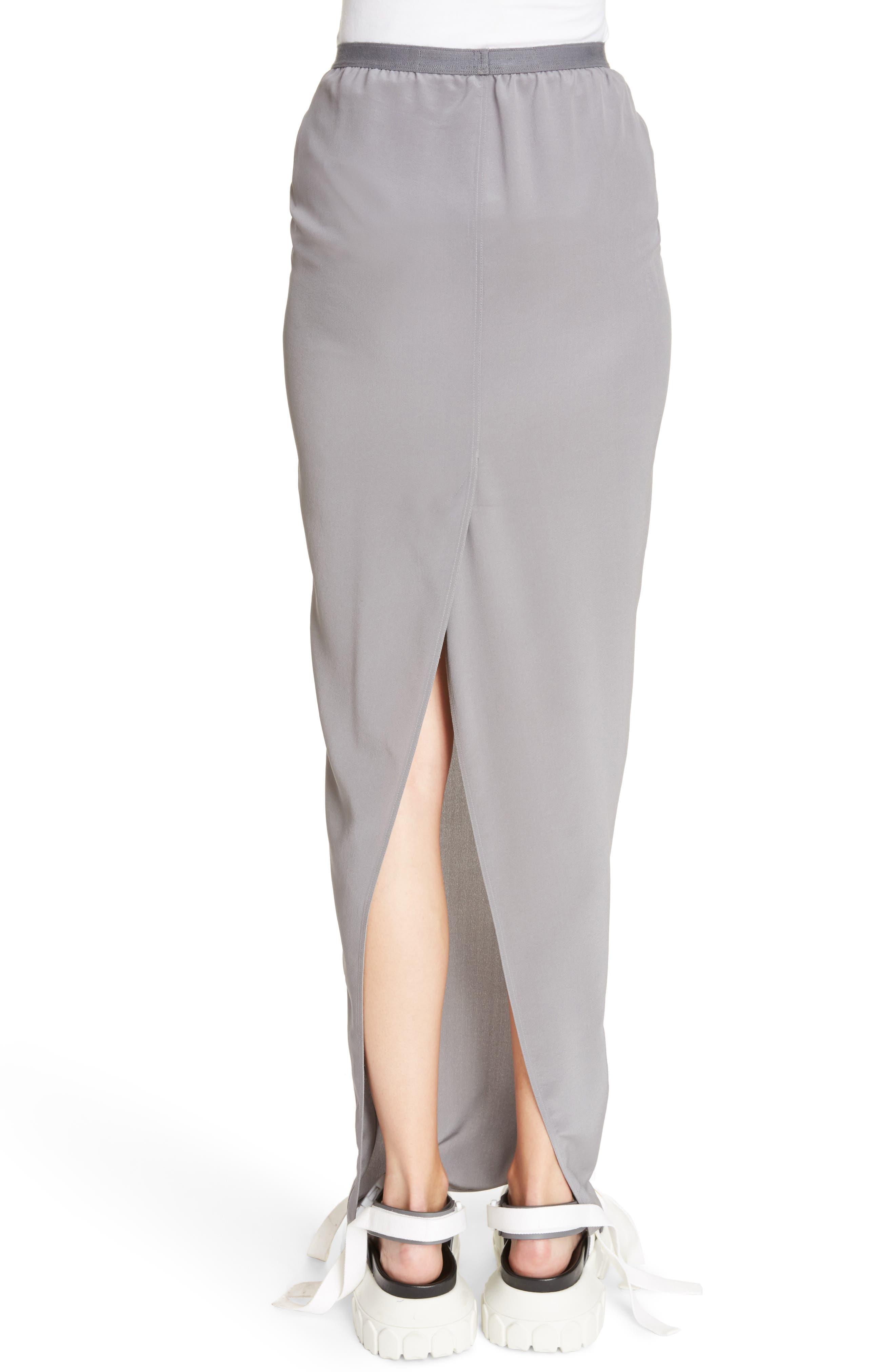 Split Back Silk Skirt,                             Alternate thumbnail 2, color,                             020