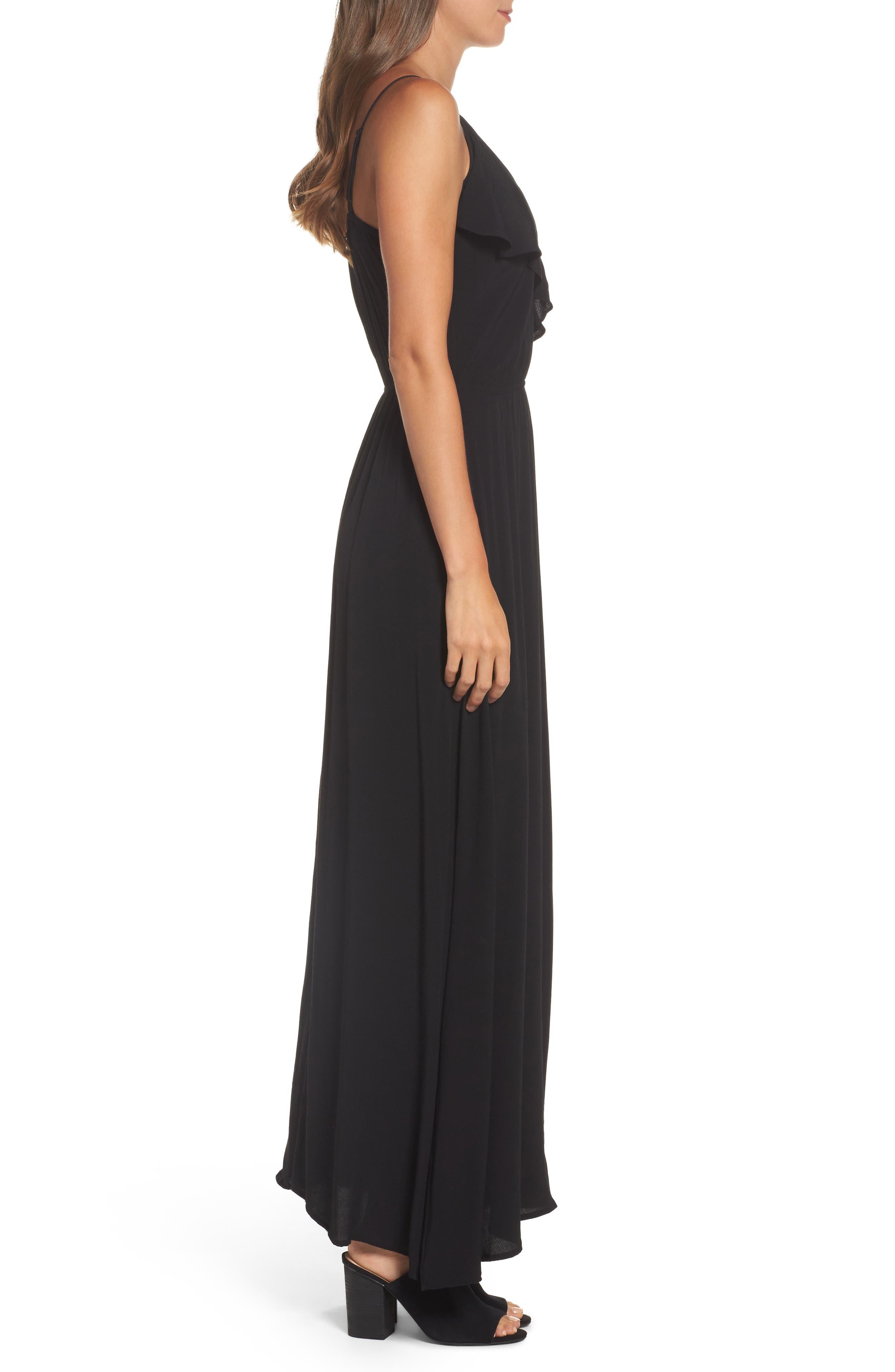 Blouson Maxi Dress,                             Alternate thumbnail 3, color,                             BLACK