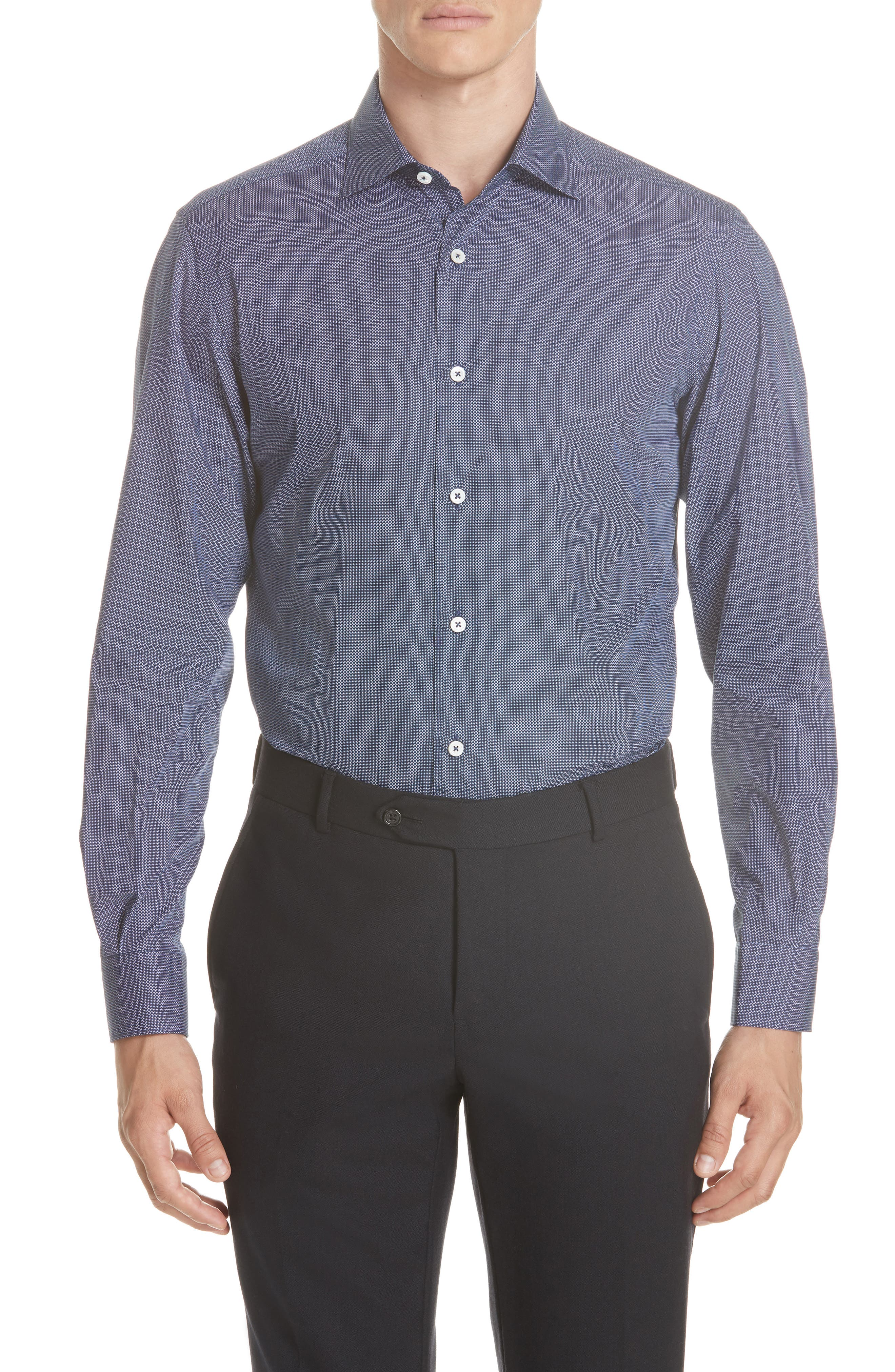 Classic Fit Check Sport Shirt,                             Main thumbnail 1, color,                             NAVY