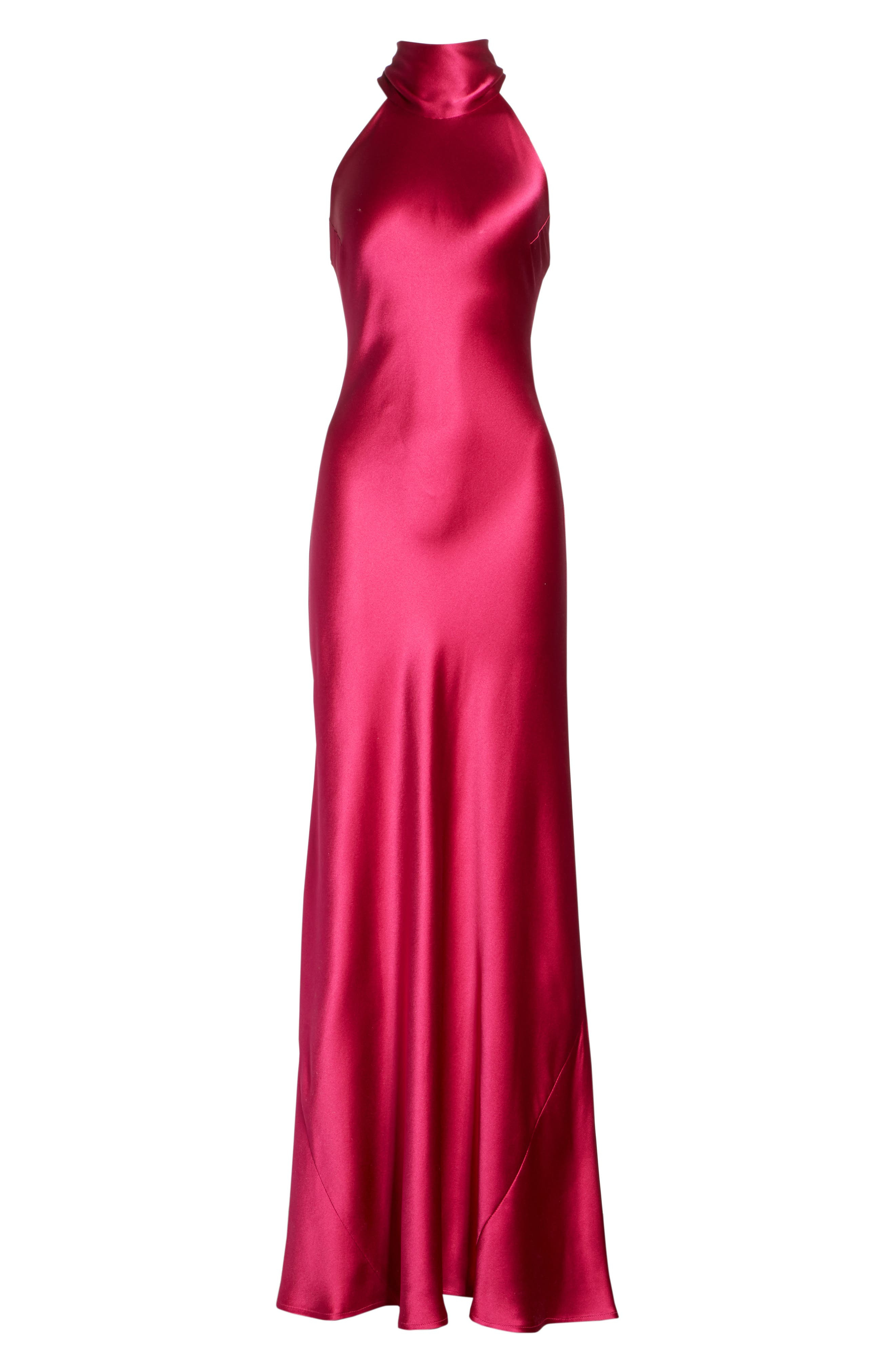 Silk Mock Neck Gown,                             Alternate thumbnail 7, color,                             RASPBERRY
