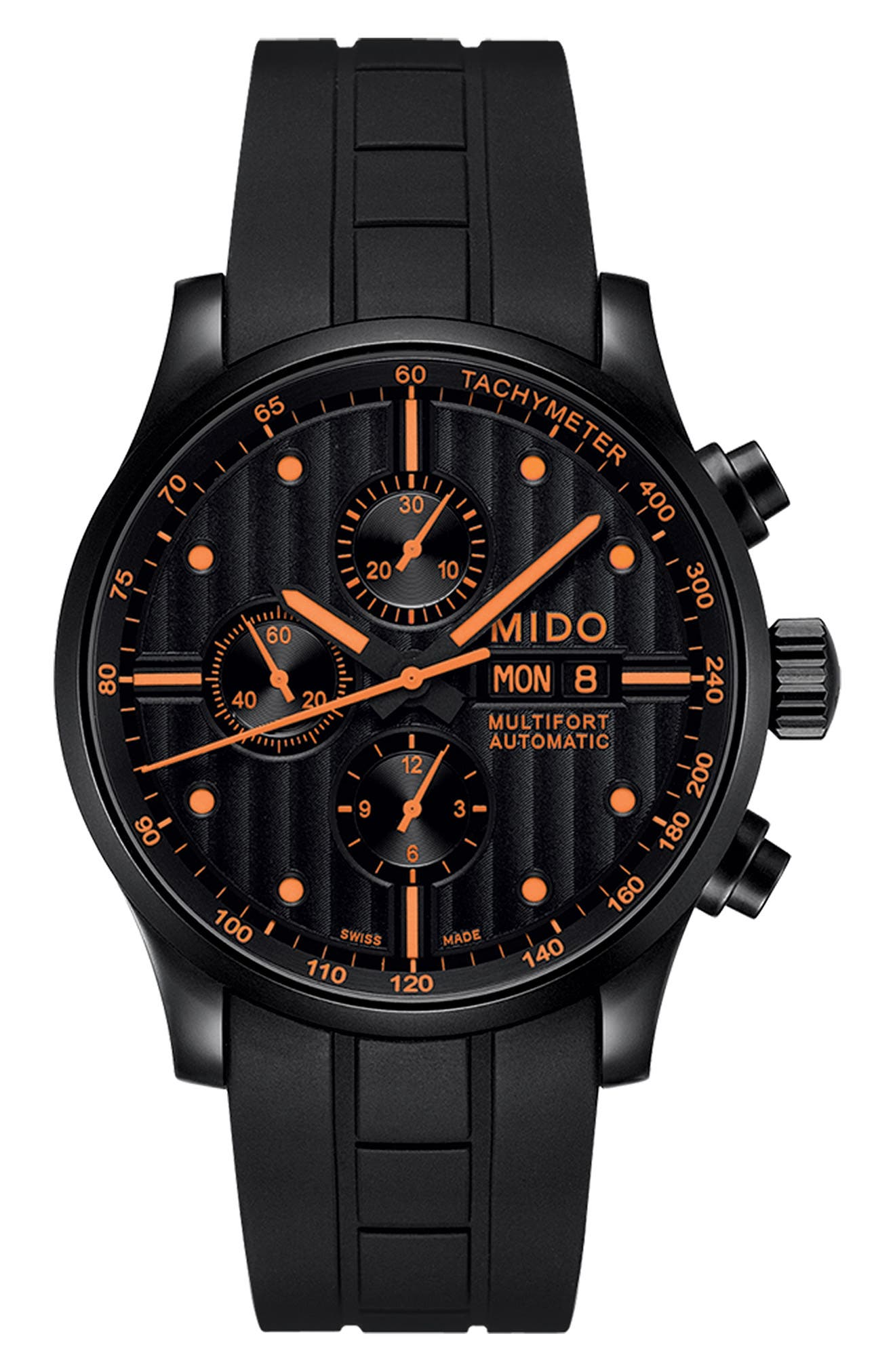 Multifort Chronograph Rubber Strap Watch, 44mm,                             Alternate thumbnail 3, color,                             001