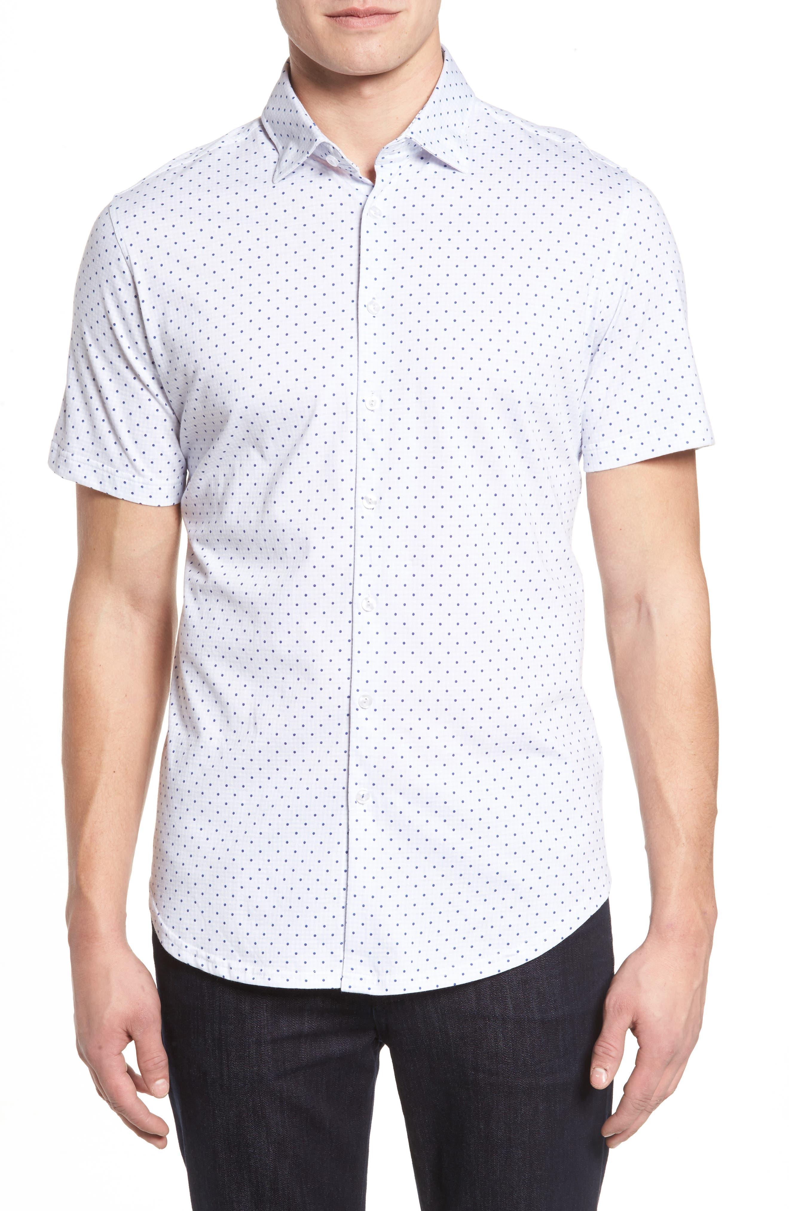 Trim Fit Polka Dot Check Sport Shirt,                         Main,                         color, 020