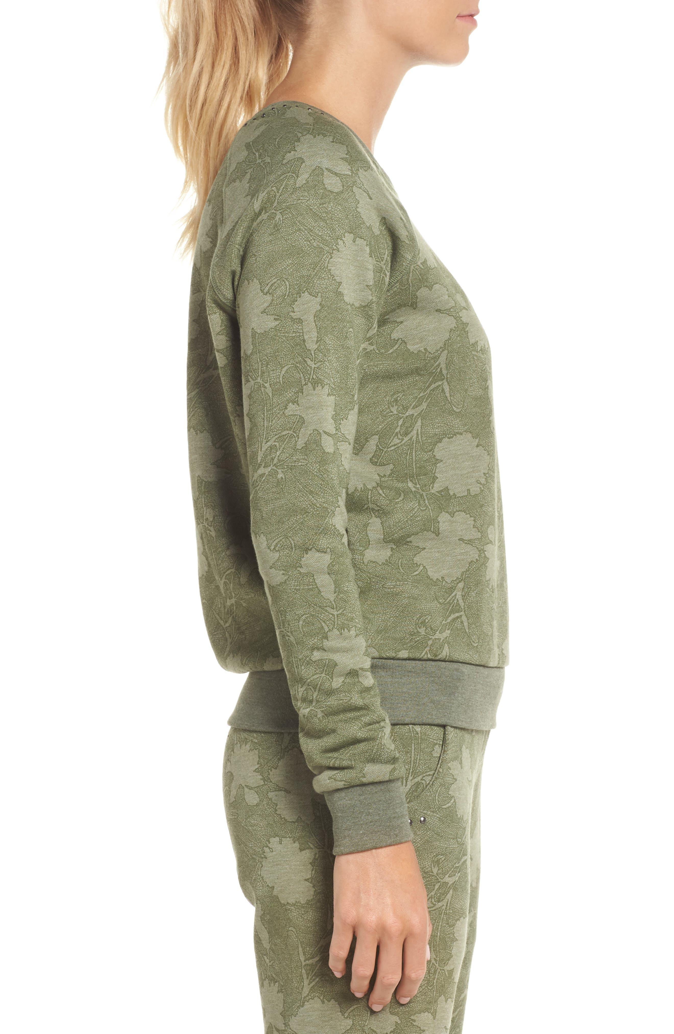 Sleek Leaf Kale Sweatshirt,                             Alternate thumbnail 3, color,                             GREEN