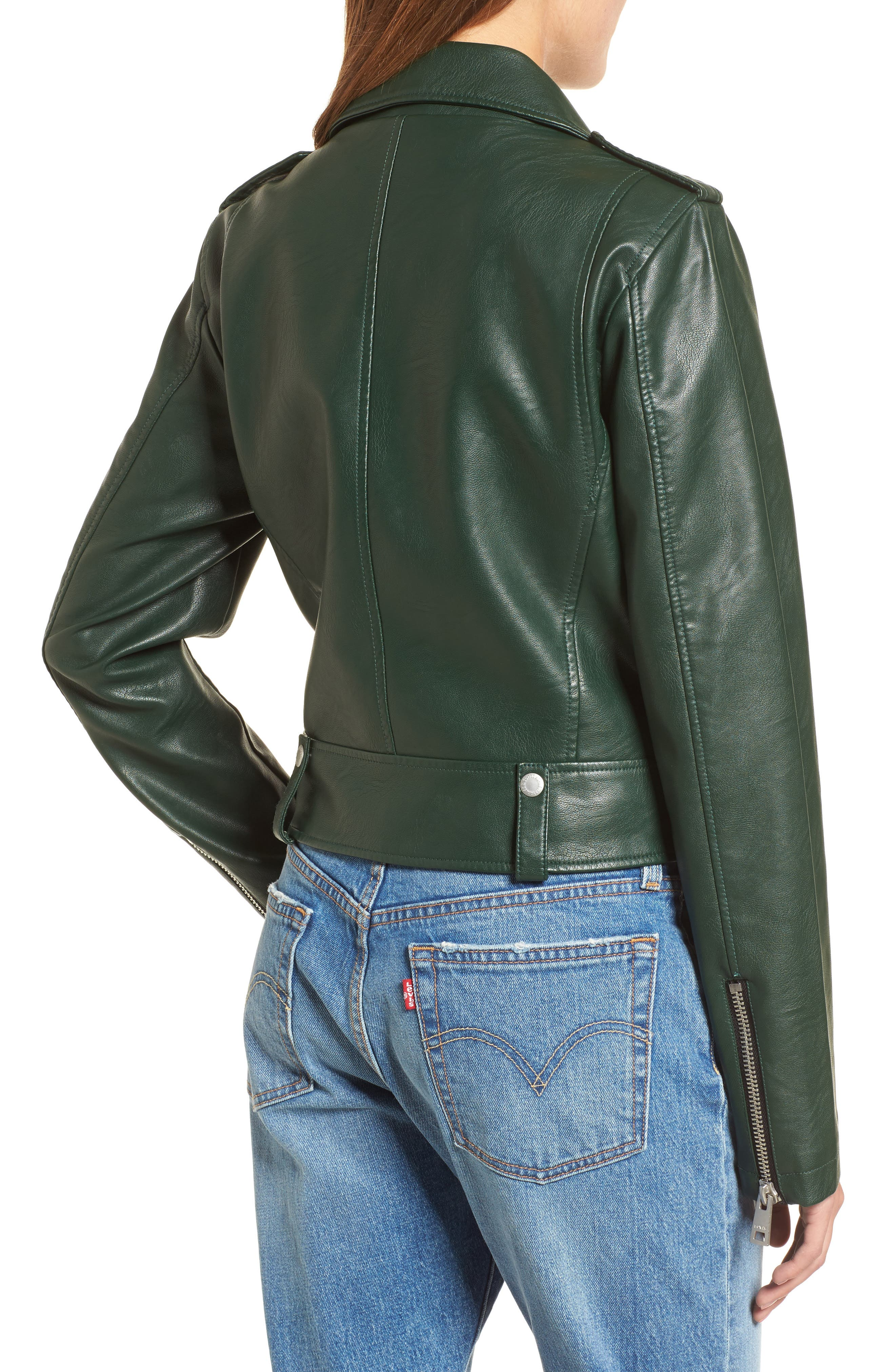 Faux Leather Moto Jacket,                             Alternate thumbnail 2, color,                             HUNTER GREEN