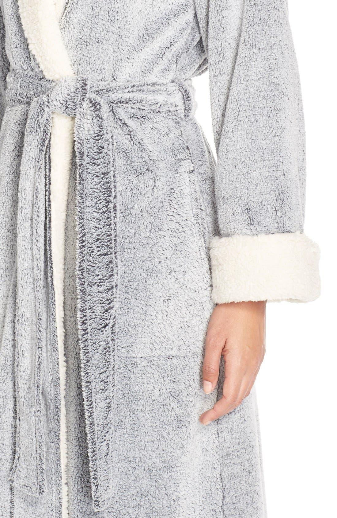 Plush Velour Robe,                             Alternate thumbnail 10, color,                             BLACK