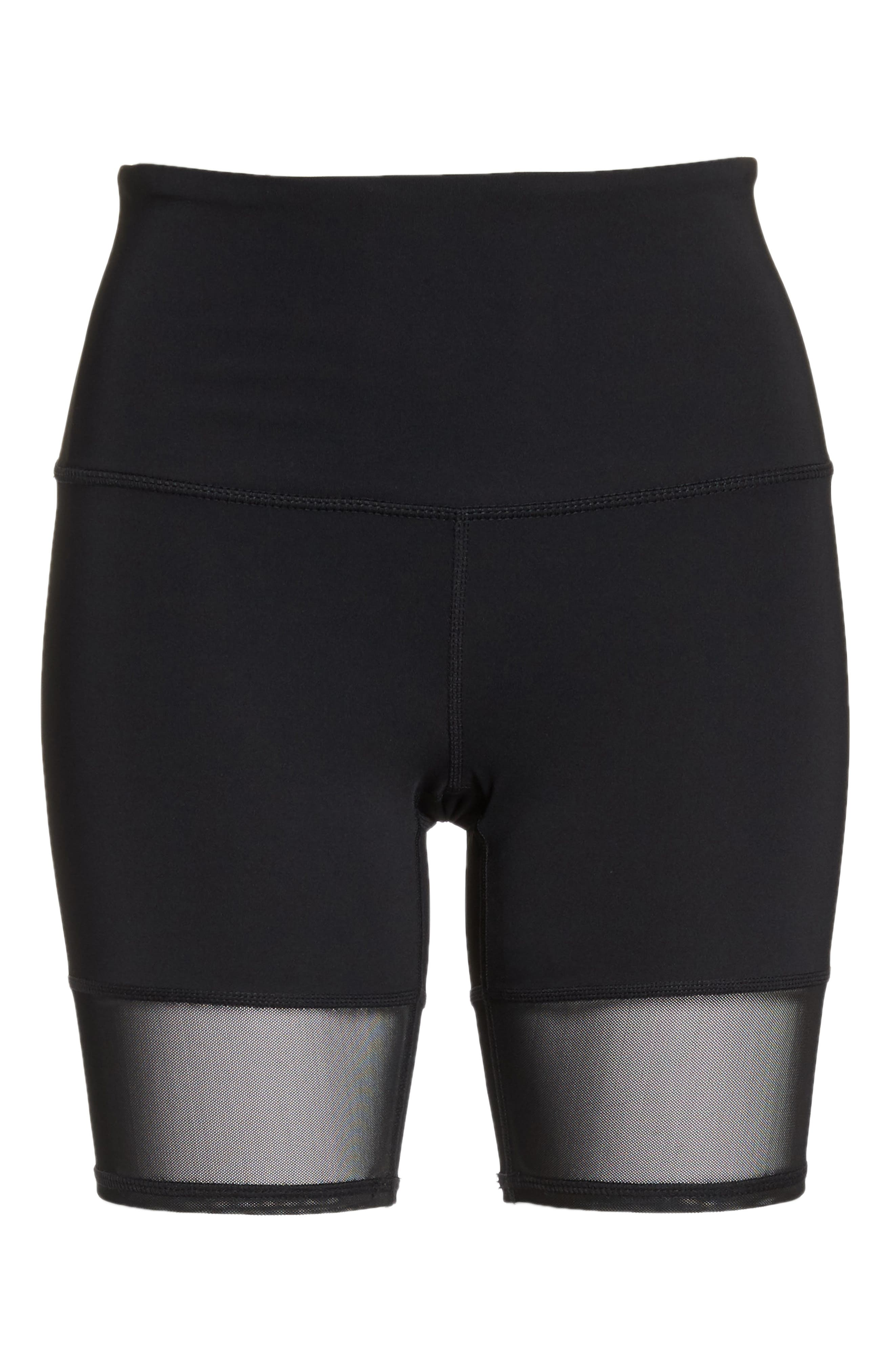 Mia Vision High Waist Mesh Bike Shorts,                             Alternate thumbnail 7, color,                             001