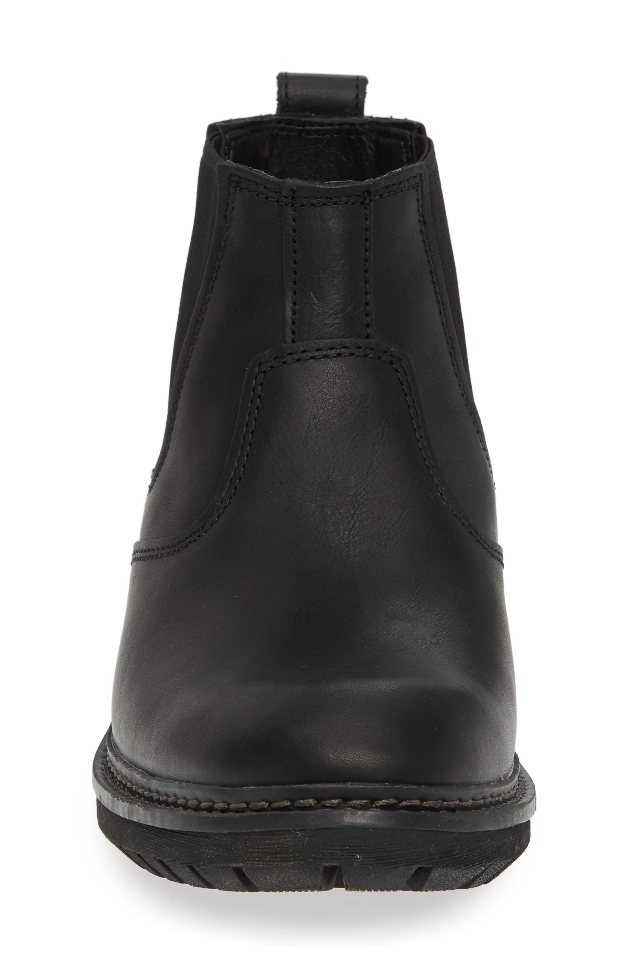 Logan Bay Water Resistant Chelsea Boot,                             Alternate thumbnail 4, color,                             BLACK LEATHER