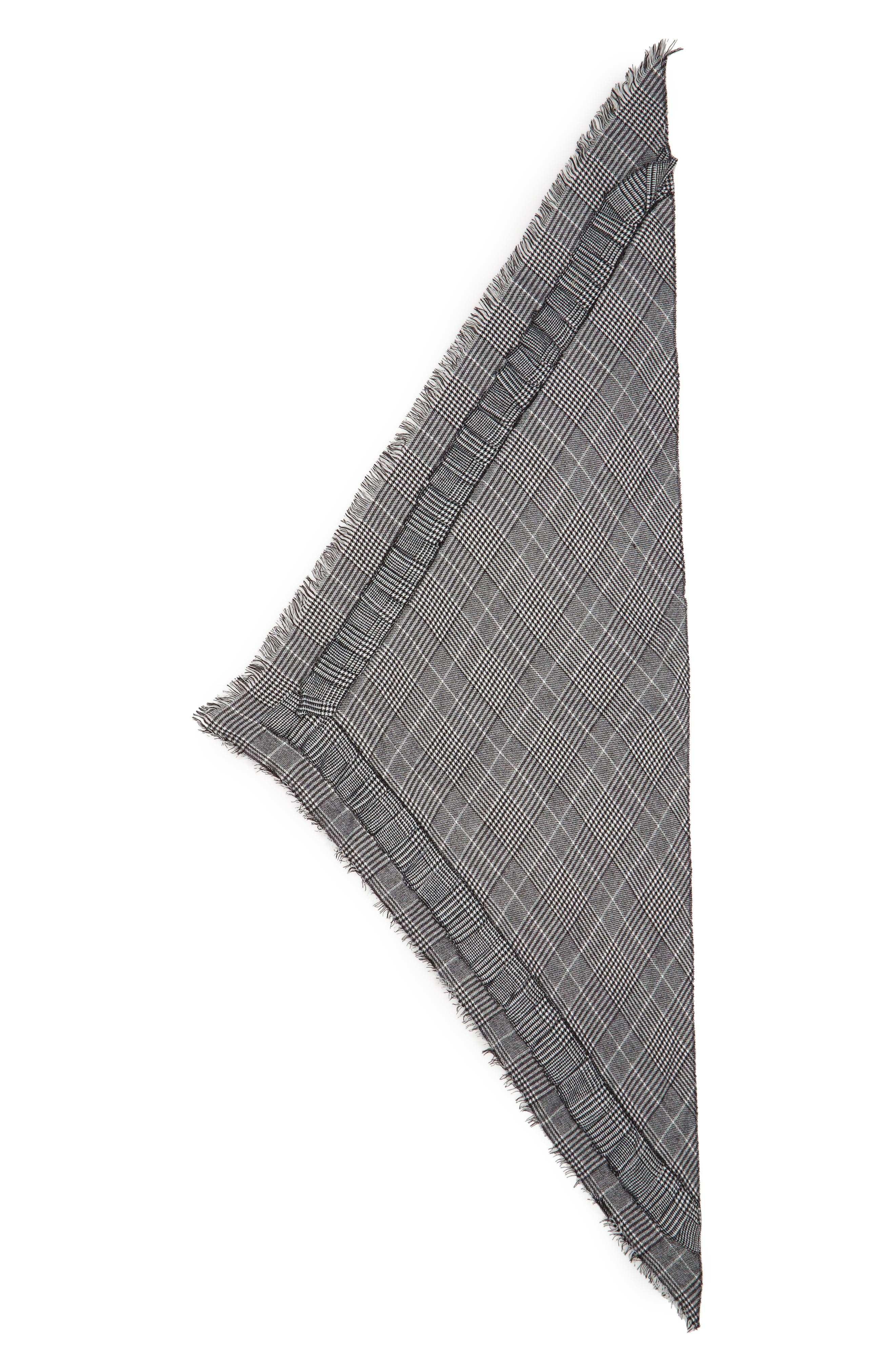 Ruffle Plaid Triangle Scarf,                             Alternate thumbnail 2, color,                             001