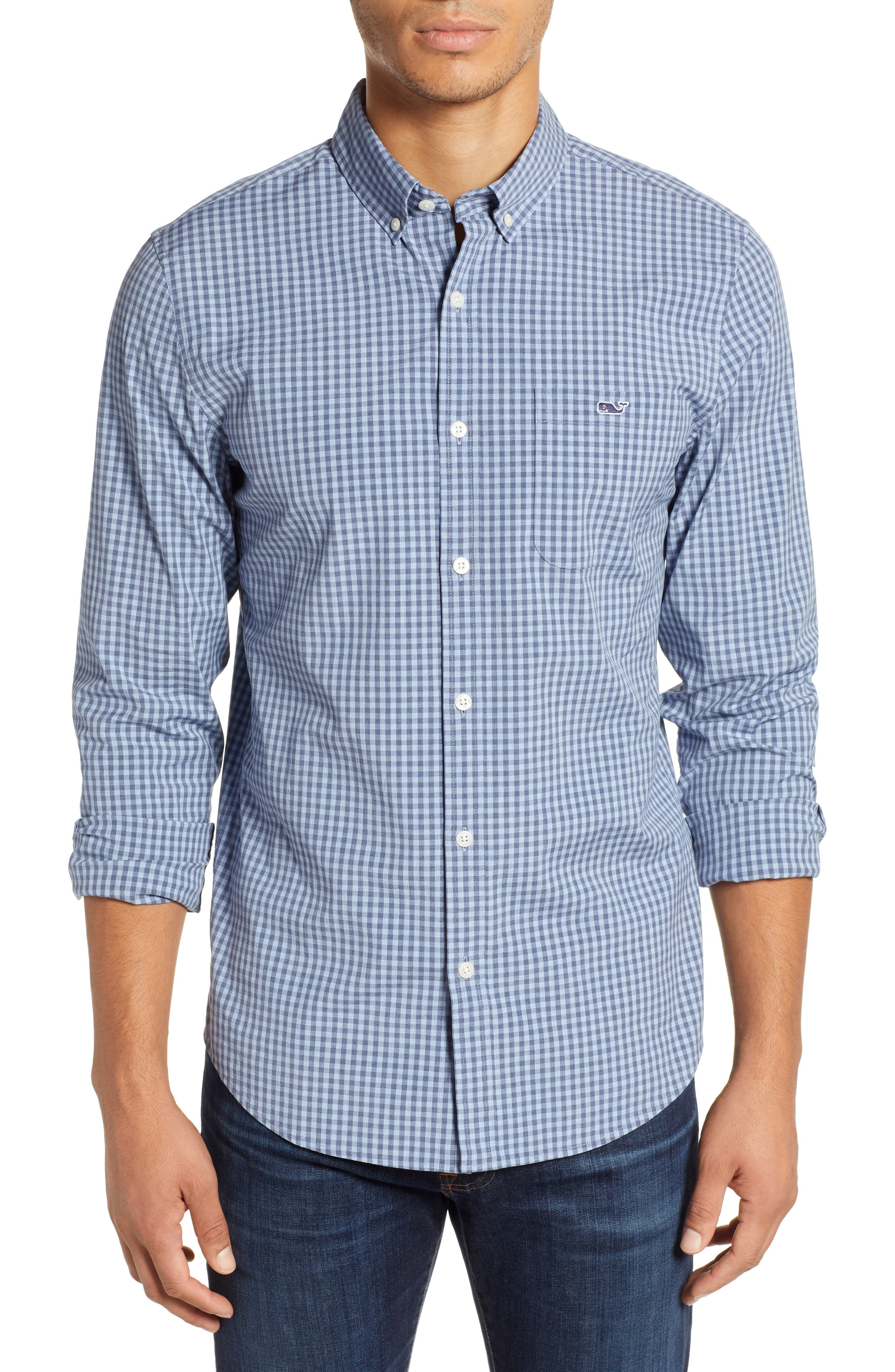 Tucker Gingham Slim Fit Button-Down Shirt in Coastline