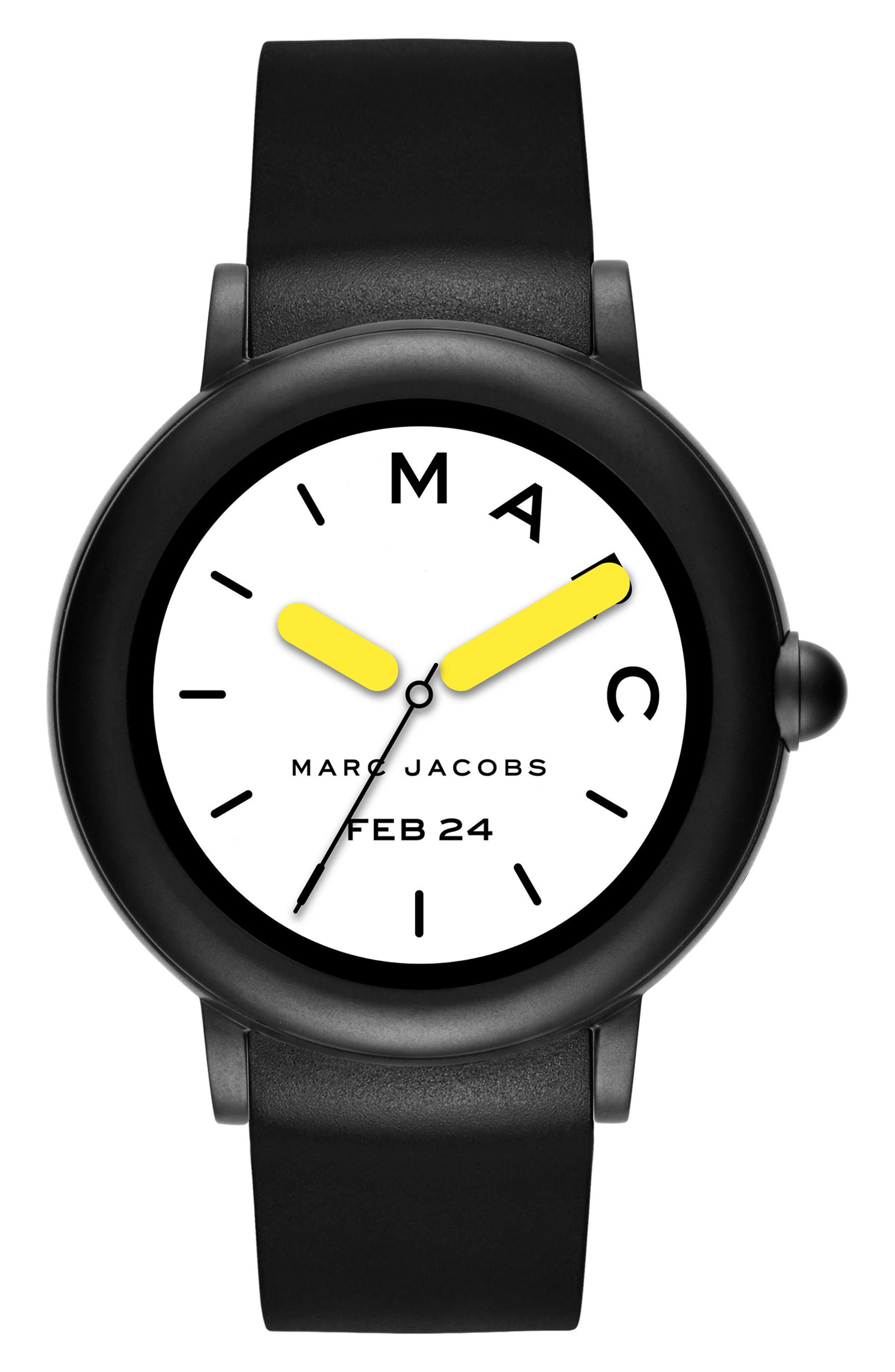Riley Silcone Strap Smart Watch, 44mm,                             Main thumbnail 1, color,                             BLACK/ WHITE/ BLACK