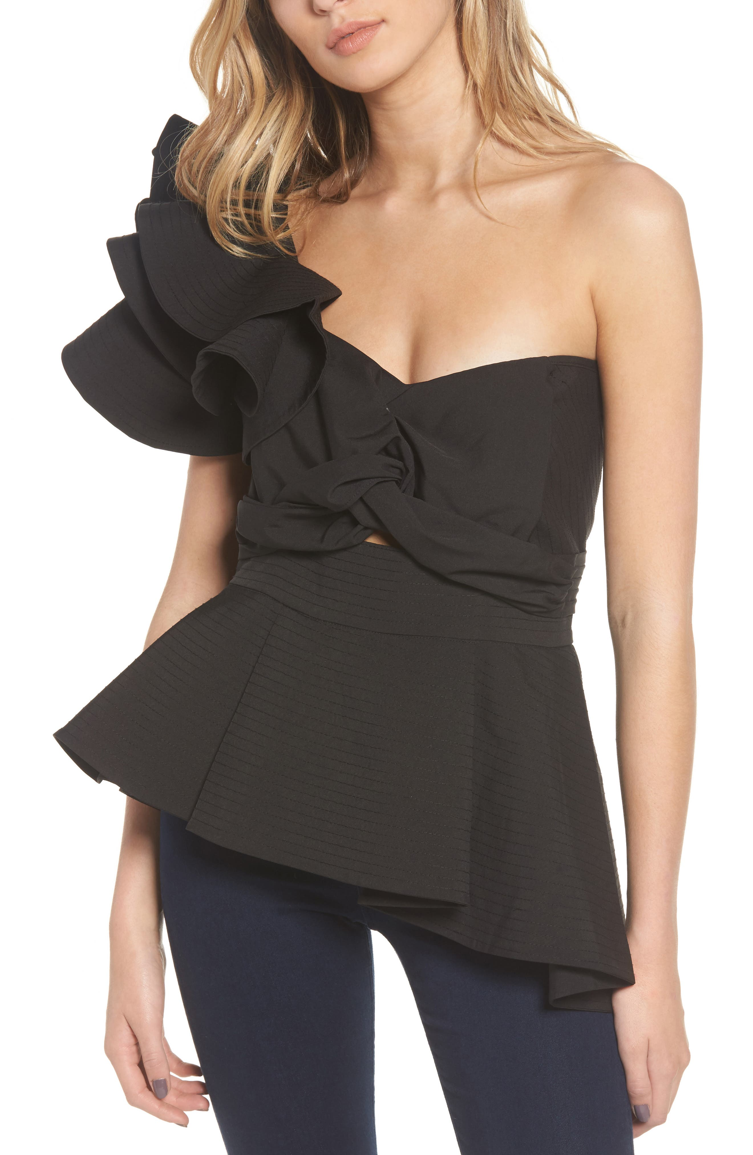 So Long Lover Ruffle One Shoulder Blouse by Stylekeepers