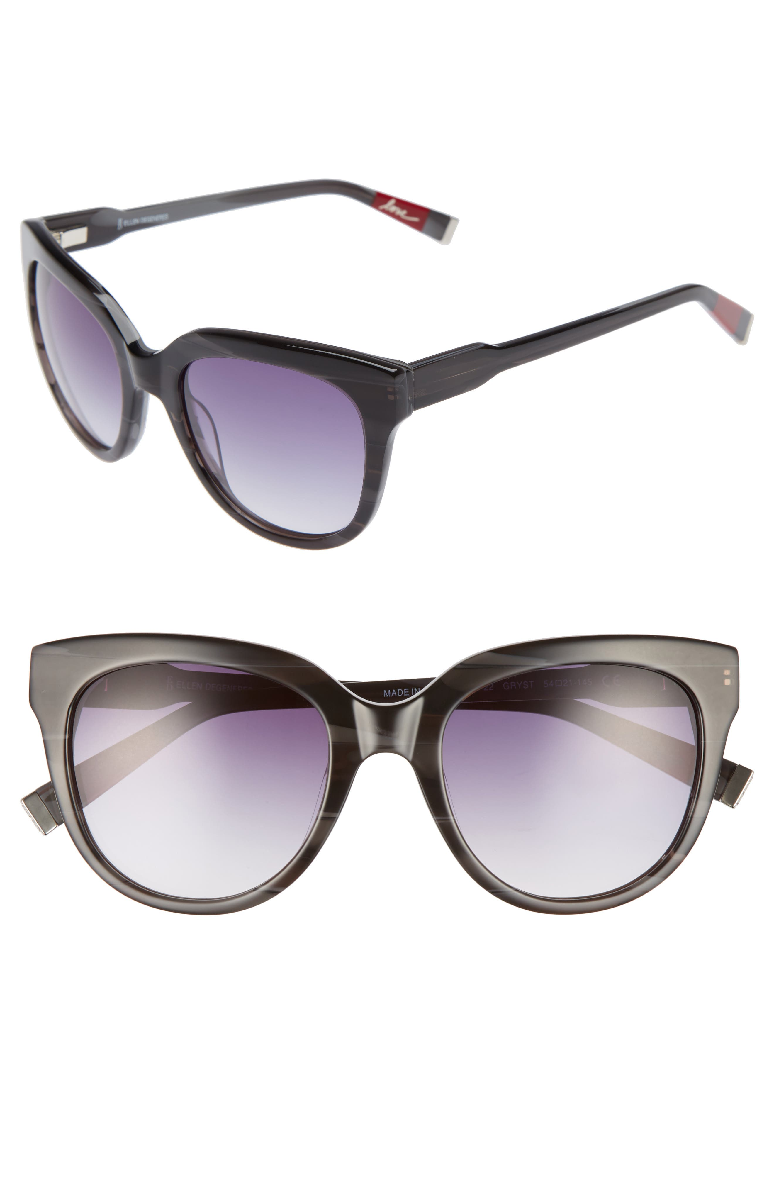 54mm Oval Sunglasses,                             Main thumbnail 1, color,                             GREY STRIPE