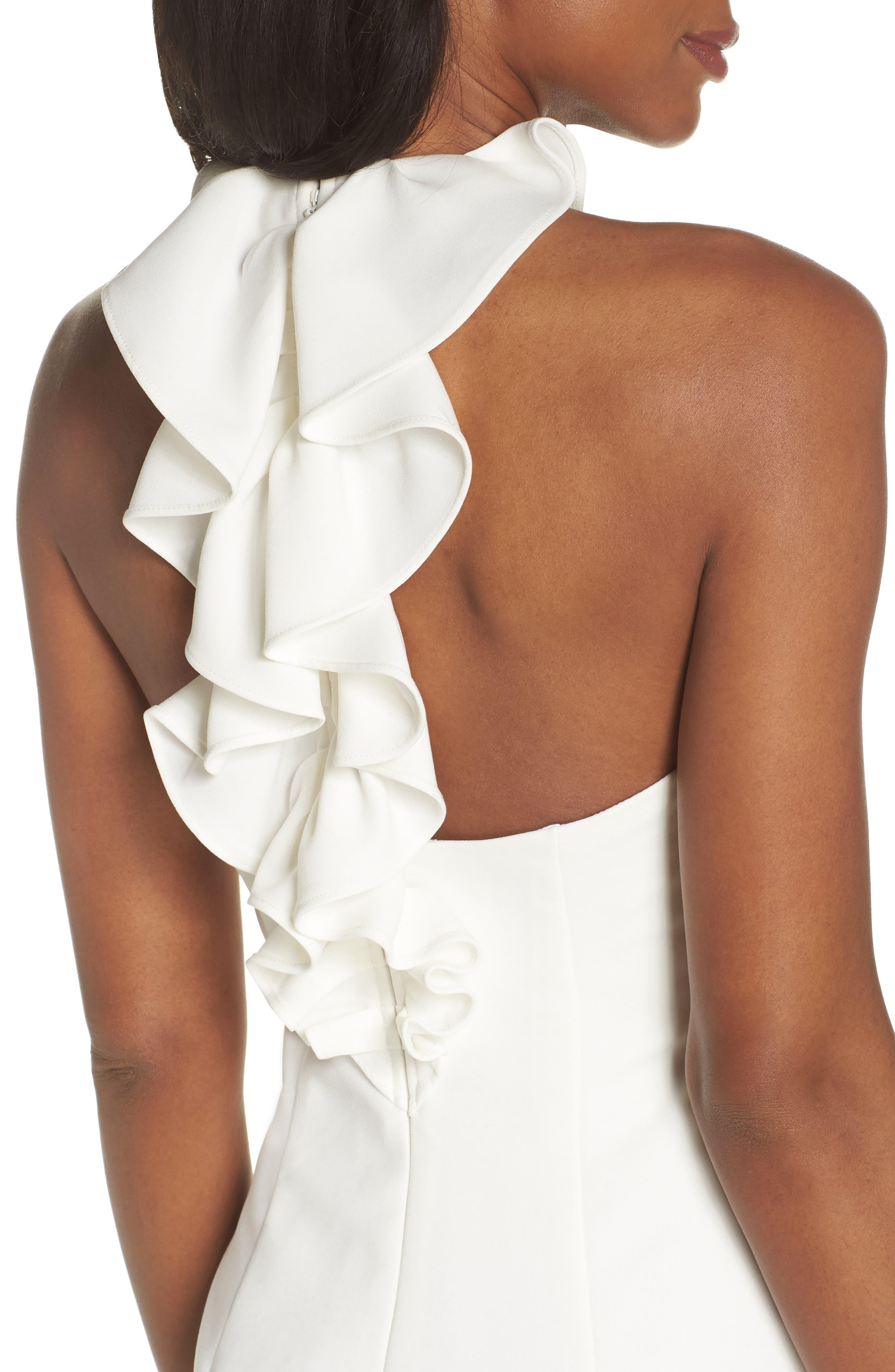 Sleeveless Ruffle Back Sheath Dress,                             Alternate thumbnail 4, color,                             IVORY