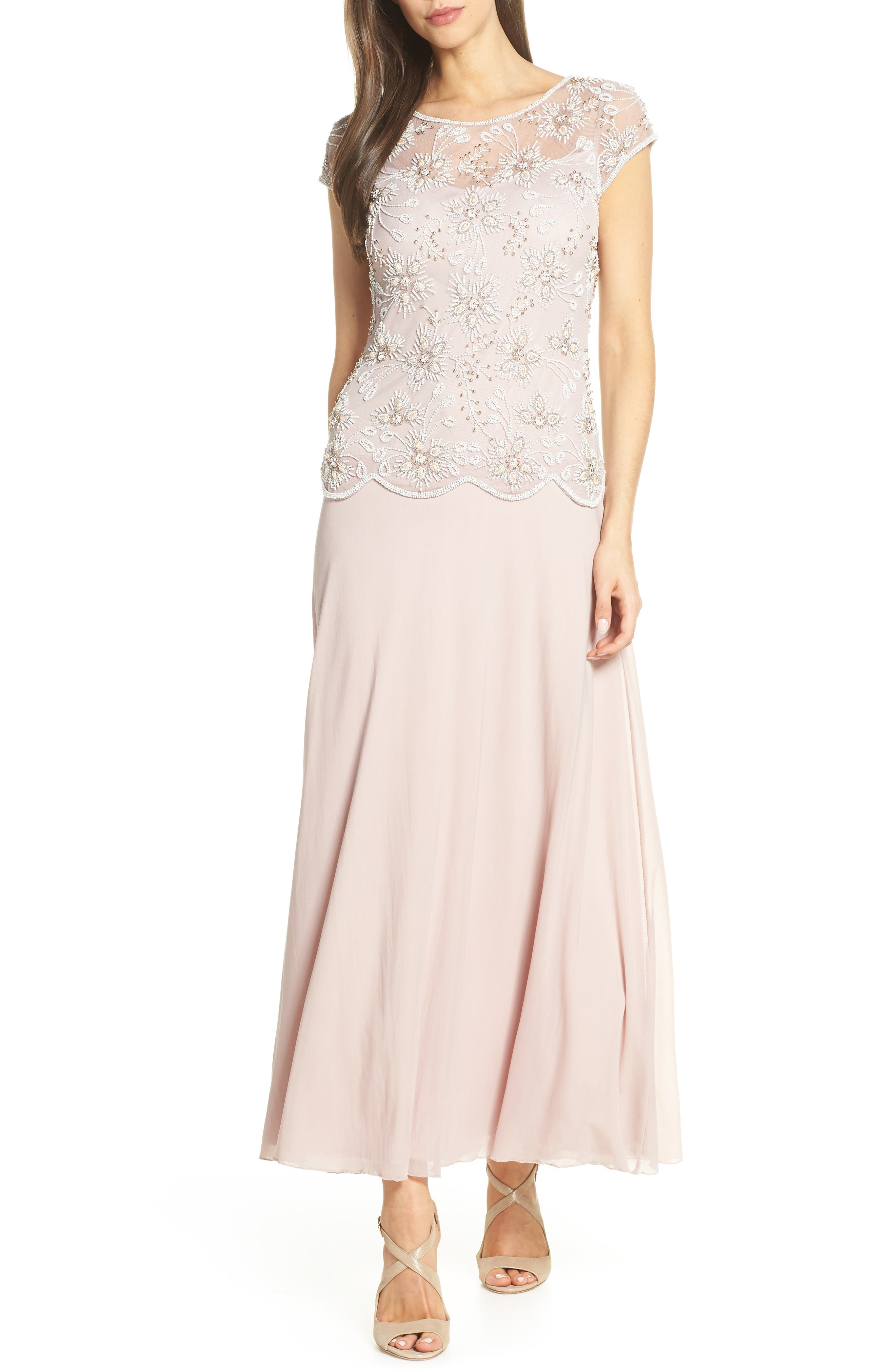Pisarro Nights Beaded Mesh Gown, Pink