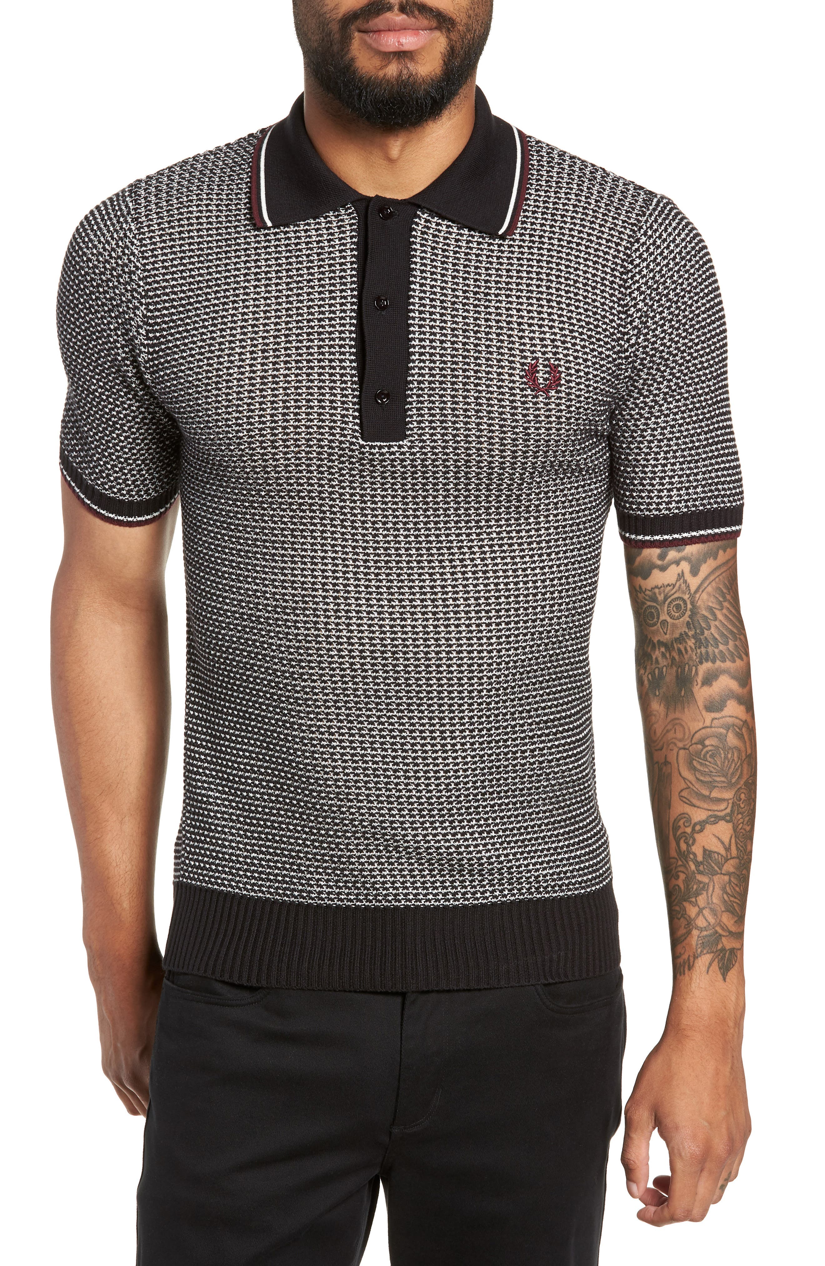 Tipped Houndstooth Polo,                         Main,                         color, 001