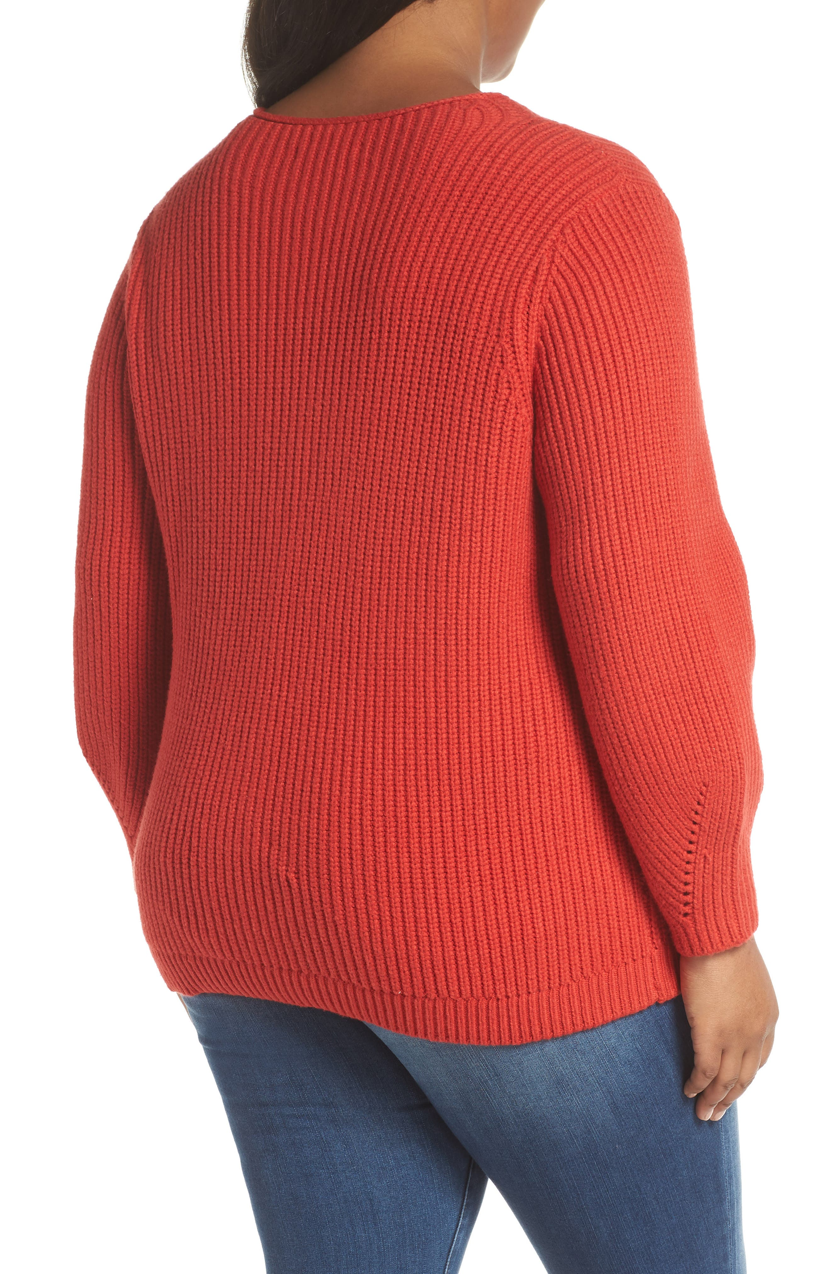 Cable Knit Sweater,                             Alternate thumbnail 2, color,                             RED BLOOM