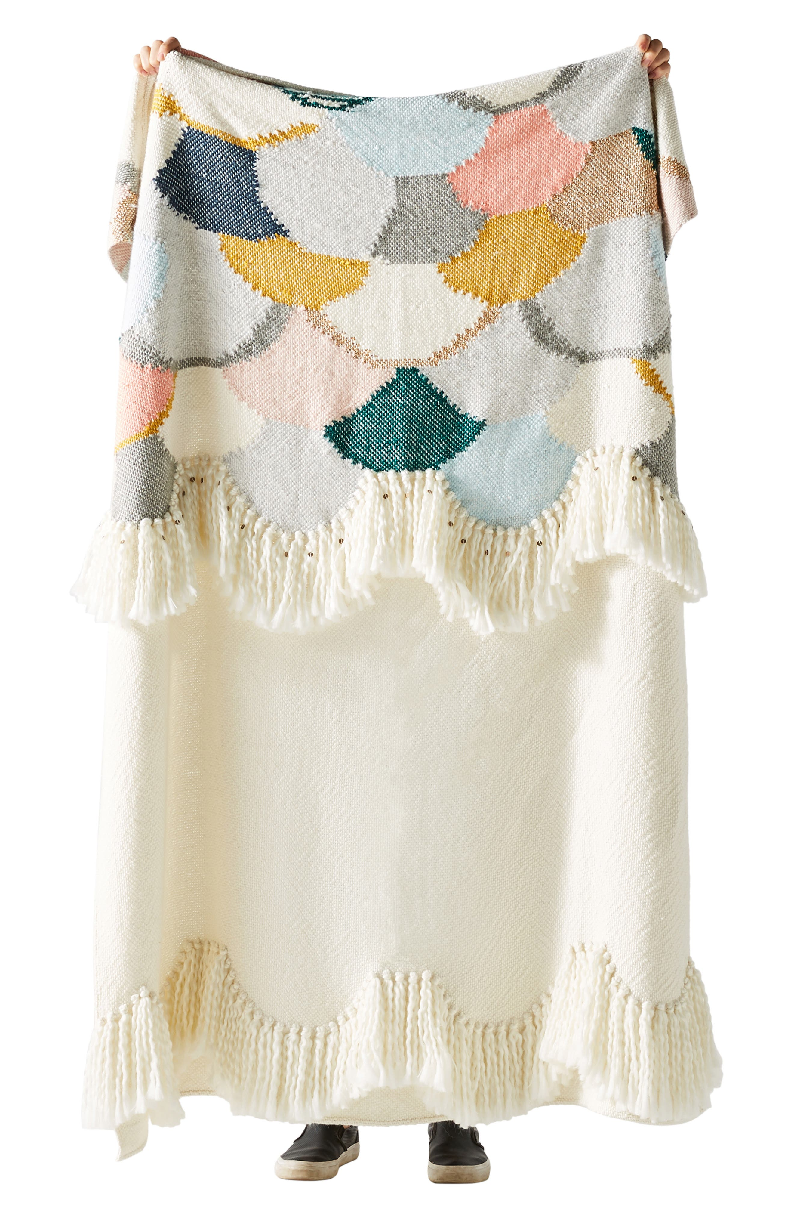 Lindsay Campbell Throw Blanket,                             Alternate thumbnail 3, color,                             IVORY