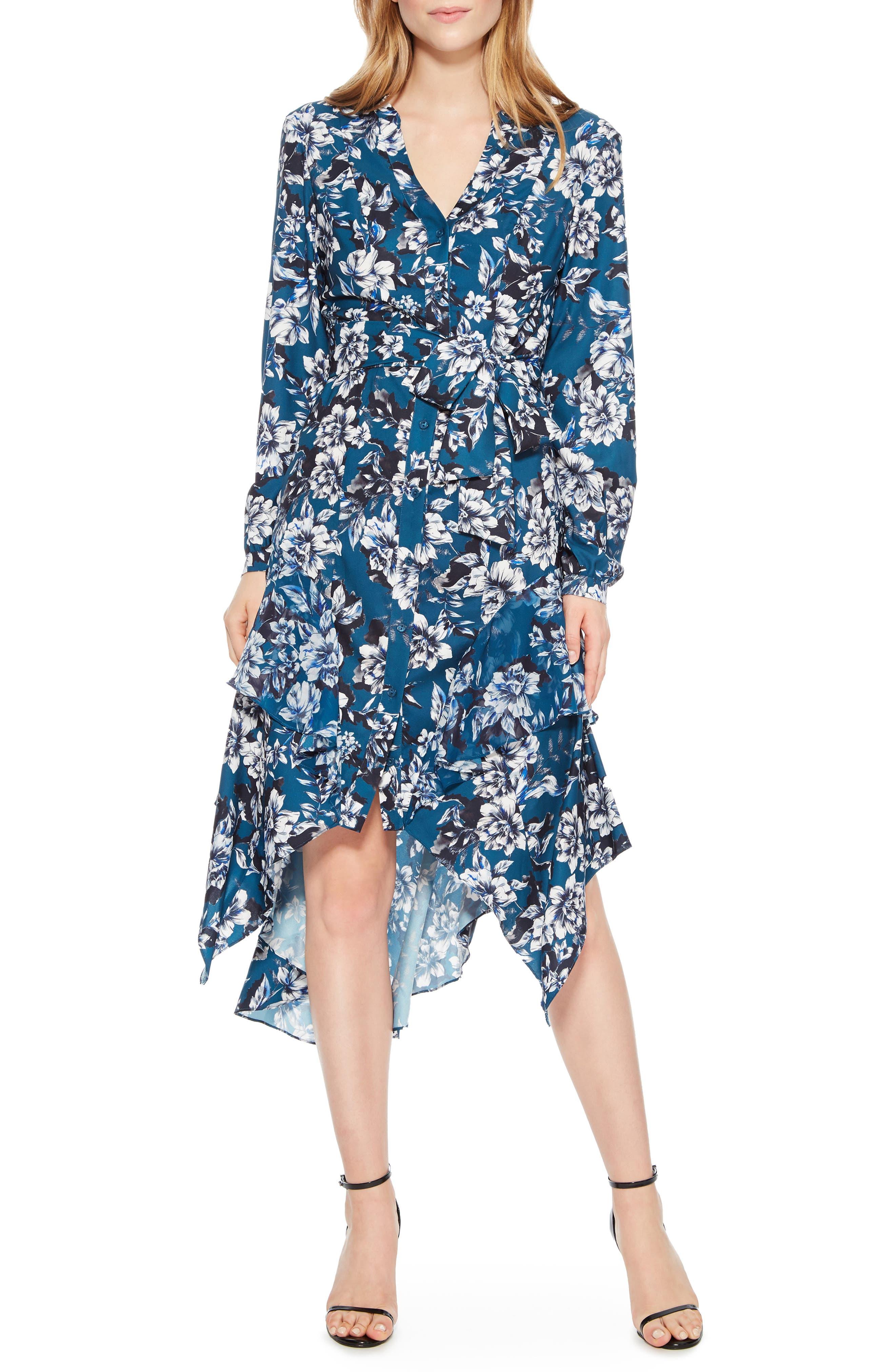 Estella Asymmetrical Floral Shirtdress,                             Main thumbnail 1, color,                             EVERGLADE GARDENS