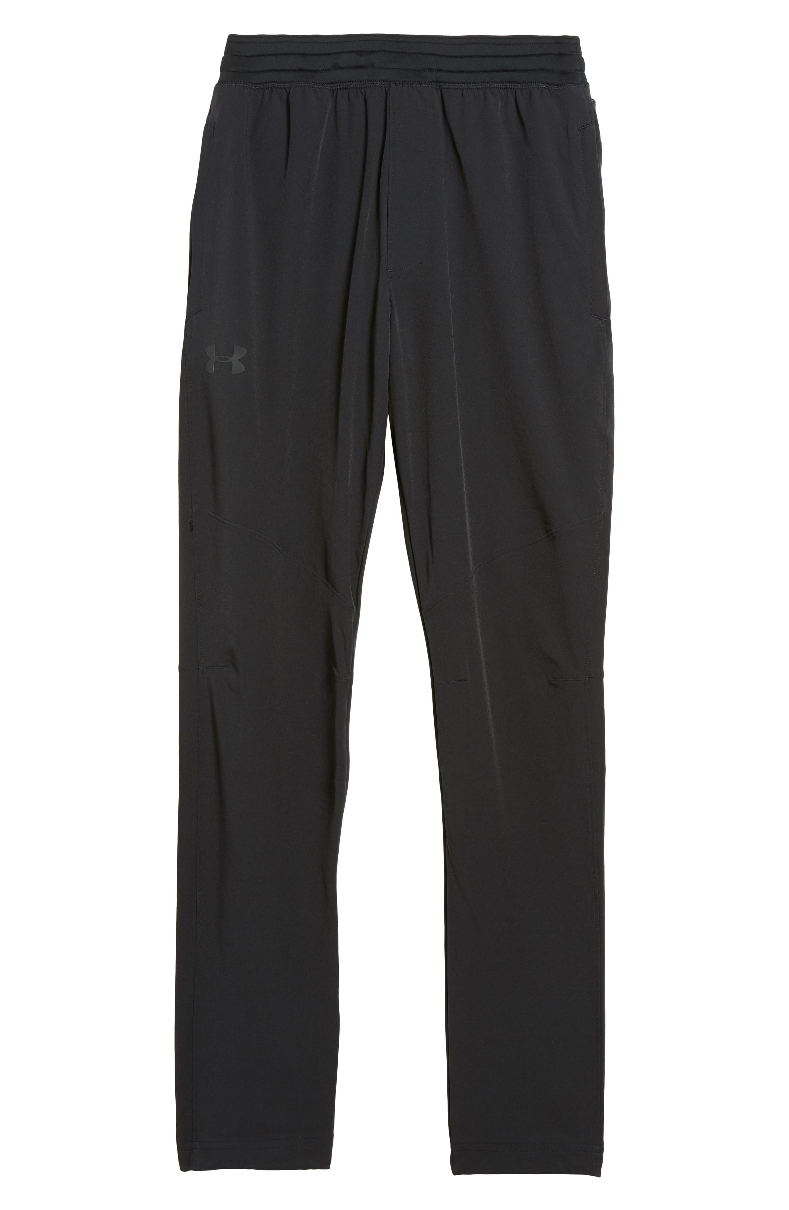Fitted Woven Training Pants,                             Alternate thumbnail 6, color,                             BLACK