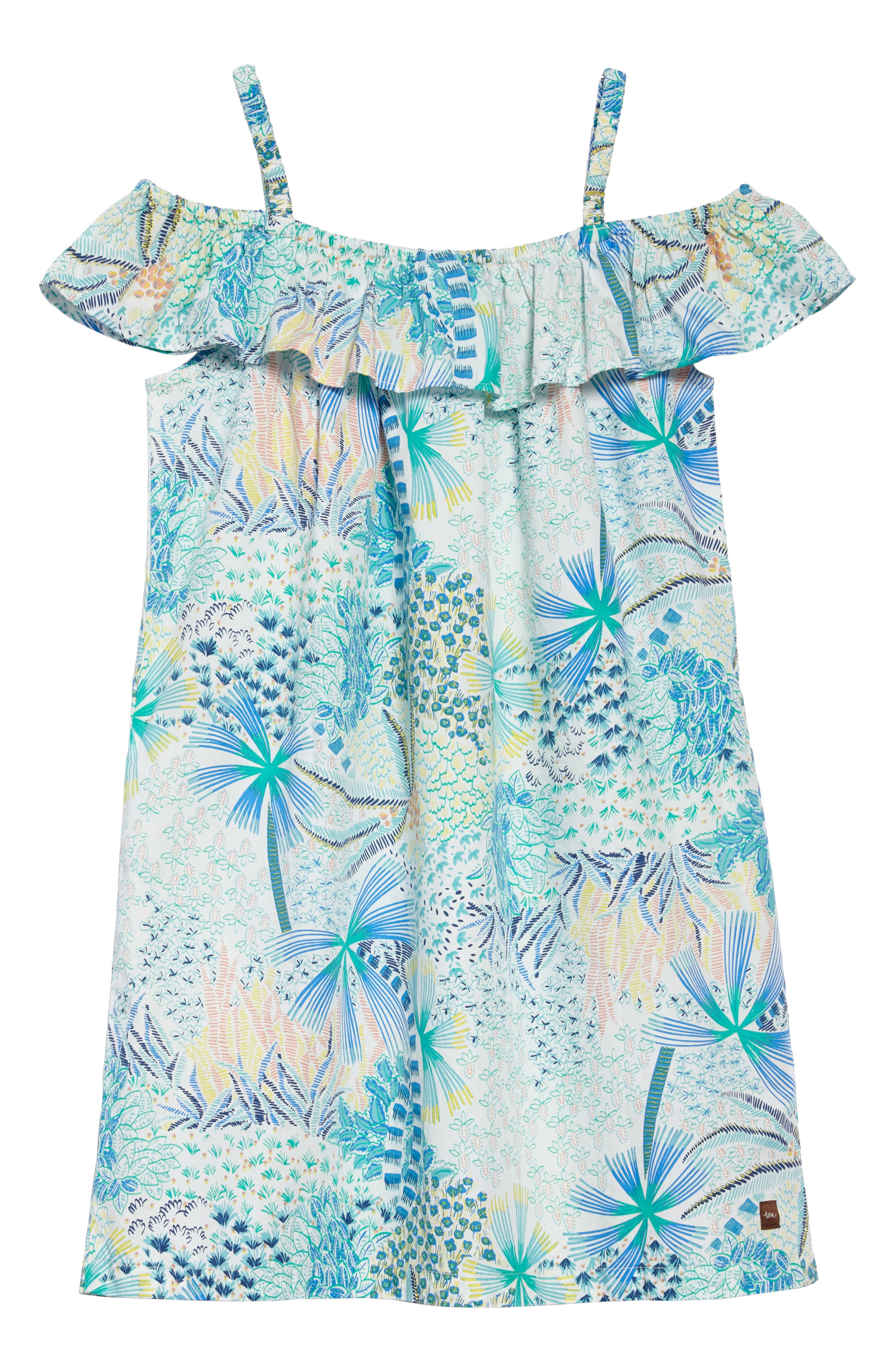 Ruffle Neck Dress,                             Alternate thumbnail 3, color,