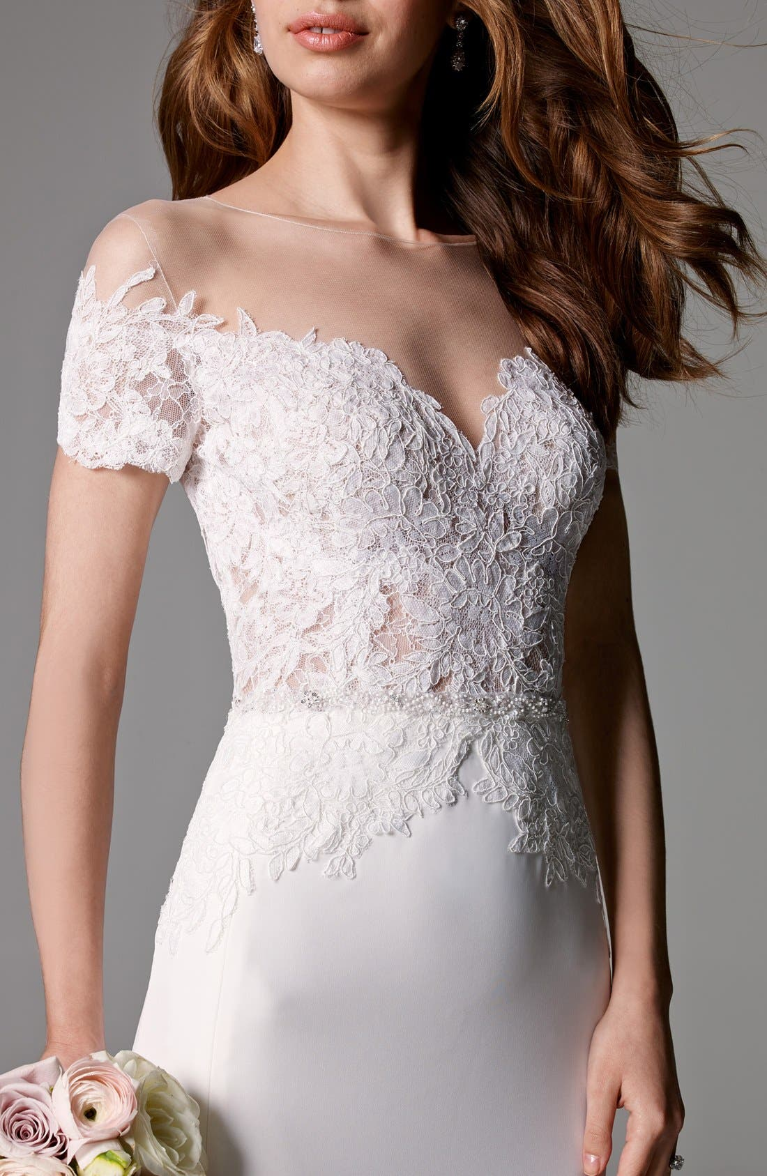 Seaton Illusion Off-the-Shoulder Lace & Georgette Trumpet Gown,                             Alternate thumbnail 2, color,                             IVORY/IVORY