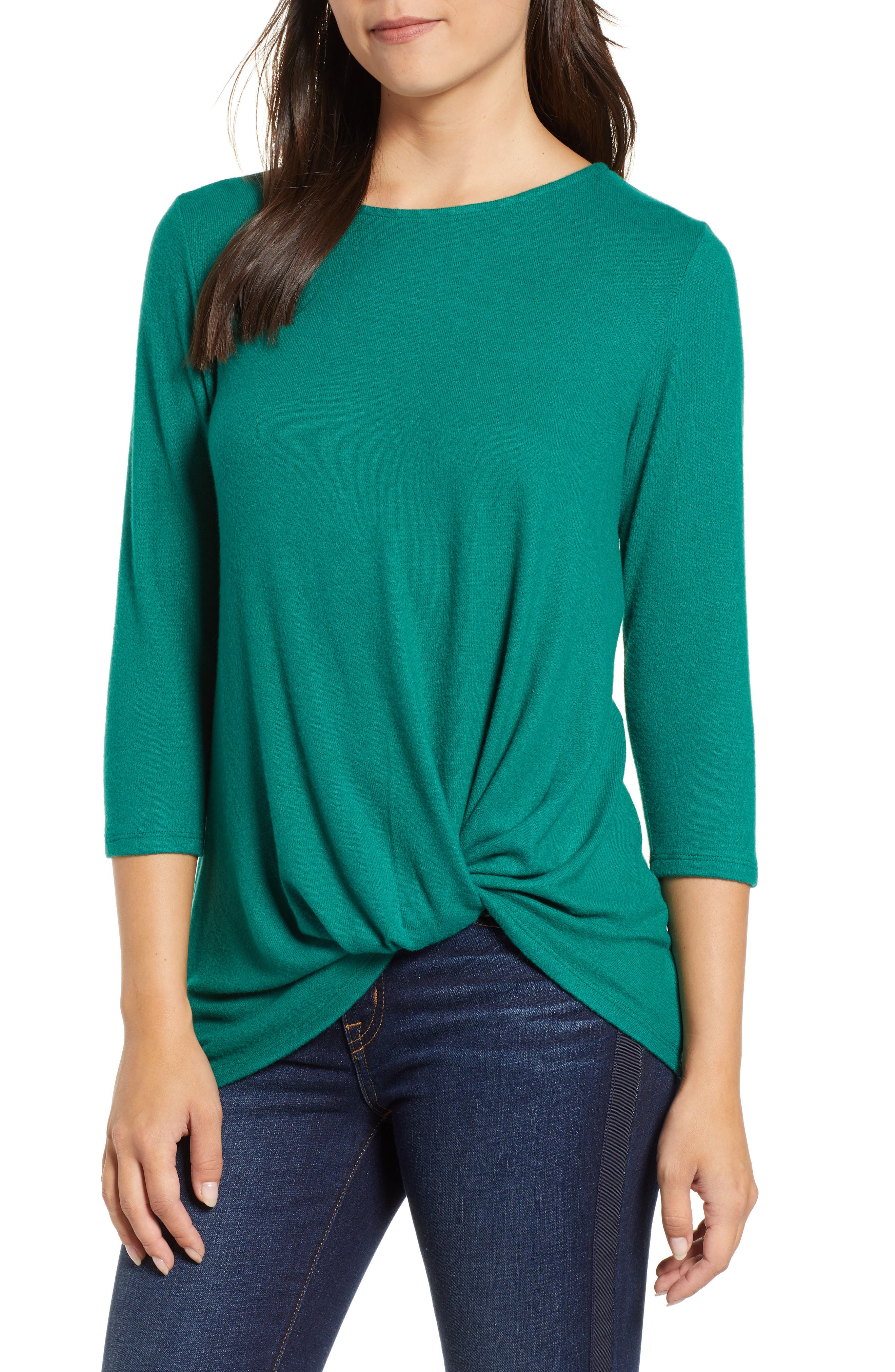 GIBSON Cozy Twist Front Pullover, Main, color, EVERGREEN