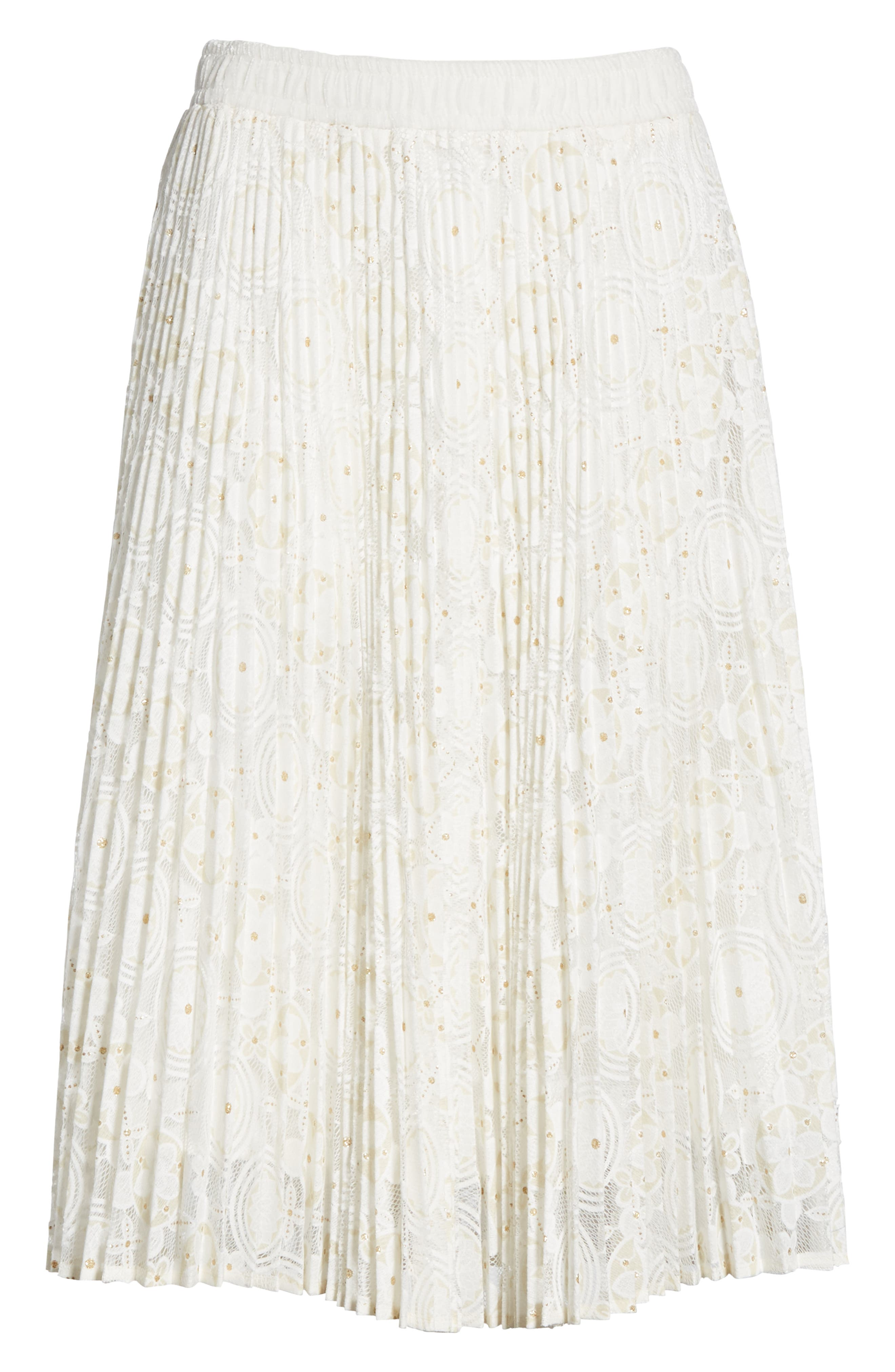 Metallic Floral Lace Pleated Skirt,                             Alternate thumbnail 6, color,                             IVORY