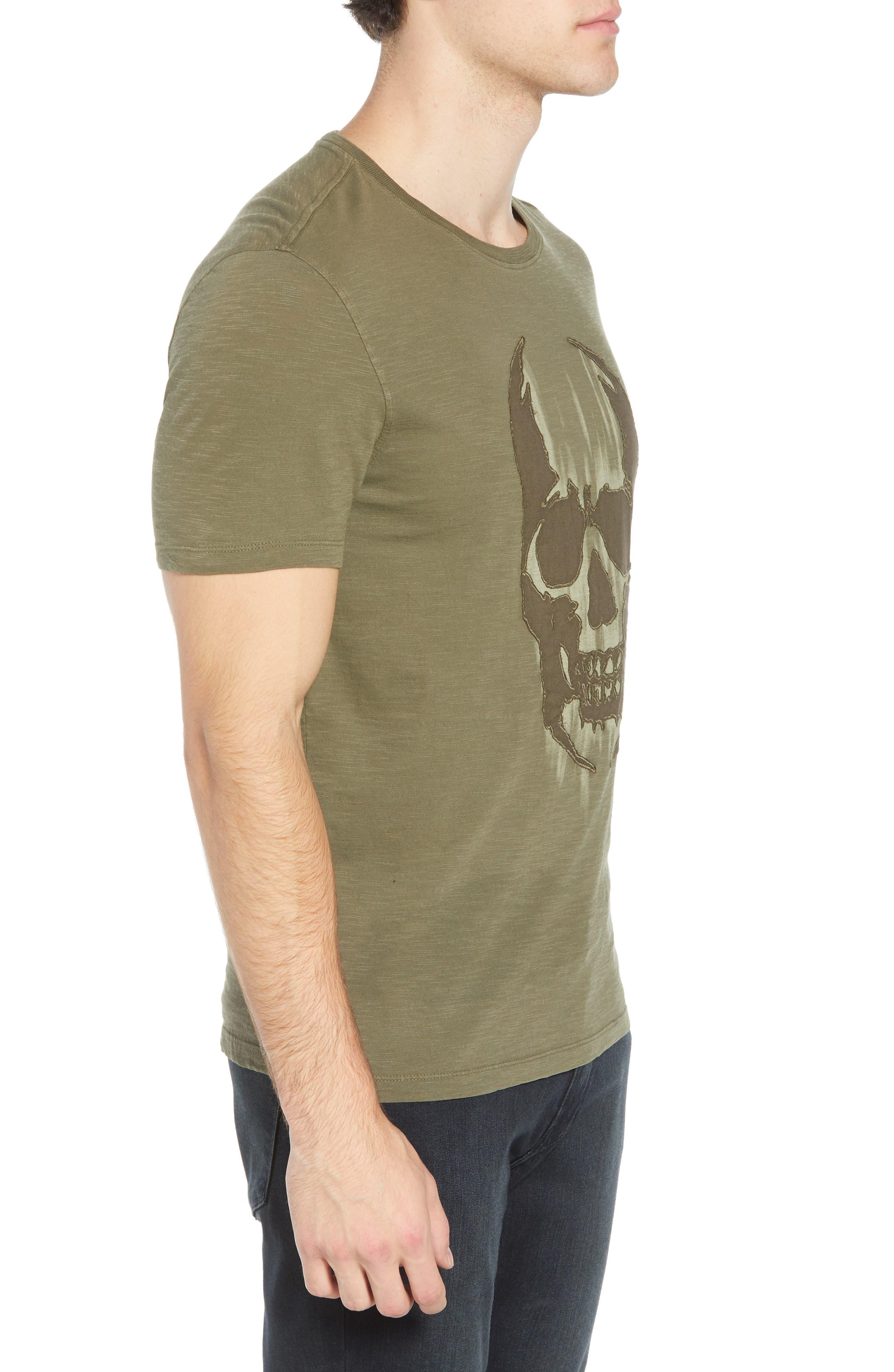 Faded Skull Appliqué T-Shirt,                             Alternate thumbnail 3, color,                             OLIVE