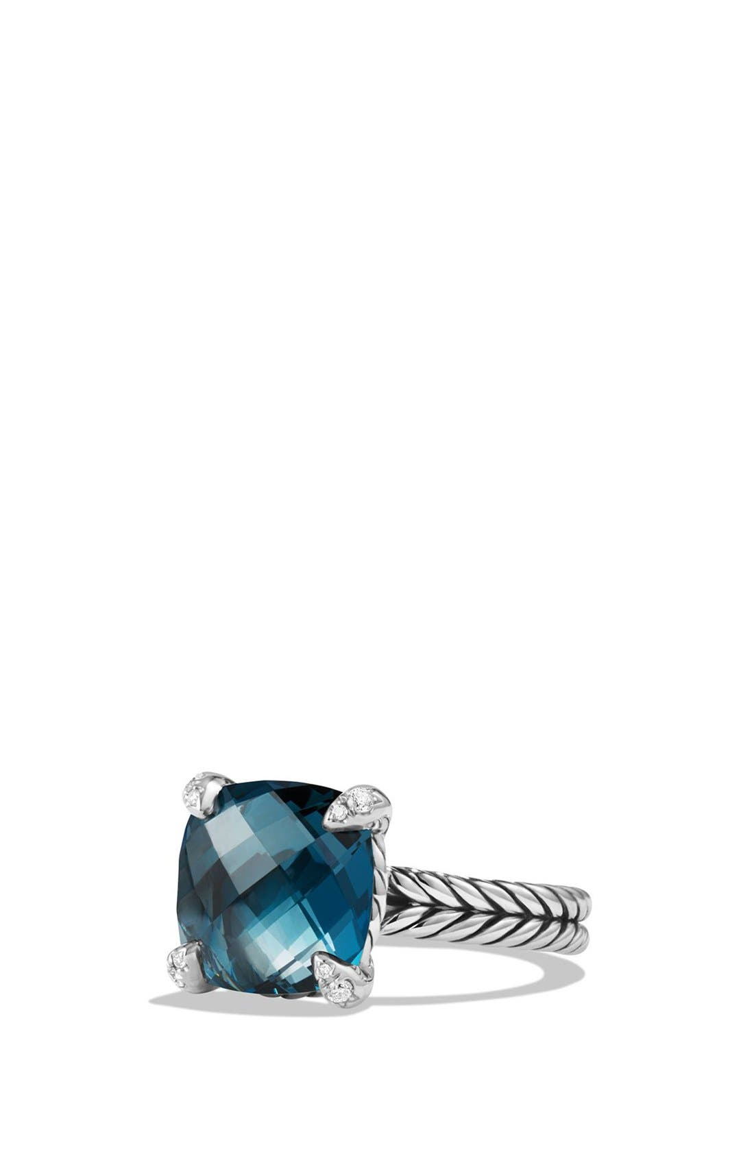 DAVID YURMAN,                             'Châtelaine' Ring with Semiprecious Stone and Diamonds,                             Main thumbnail 1, color,                             SILVER/ HAMPTON BLUE TOPAZ