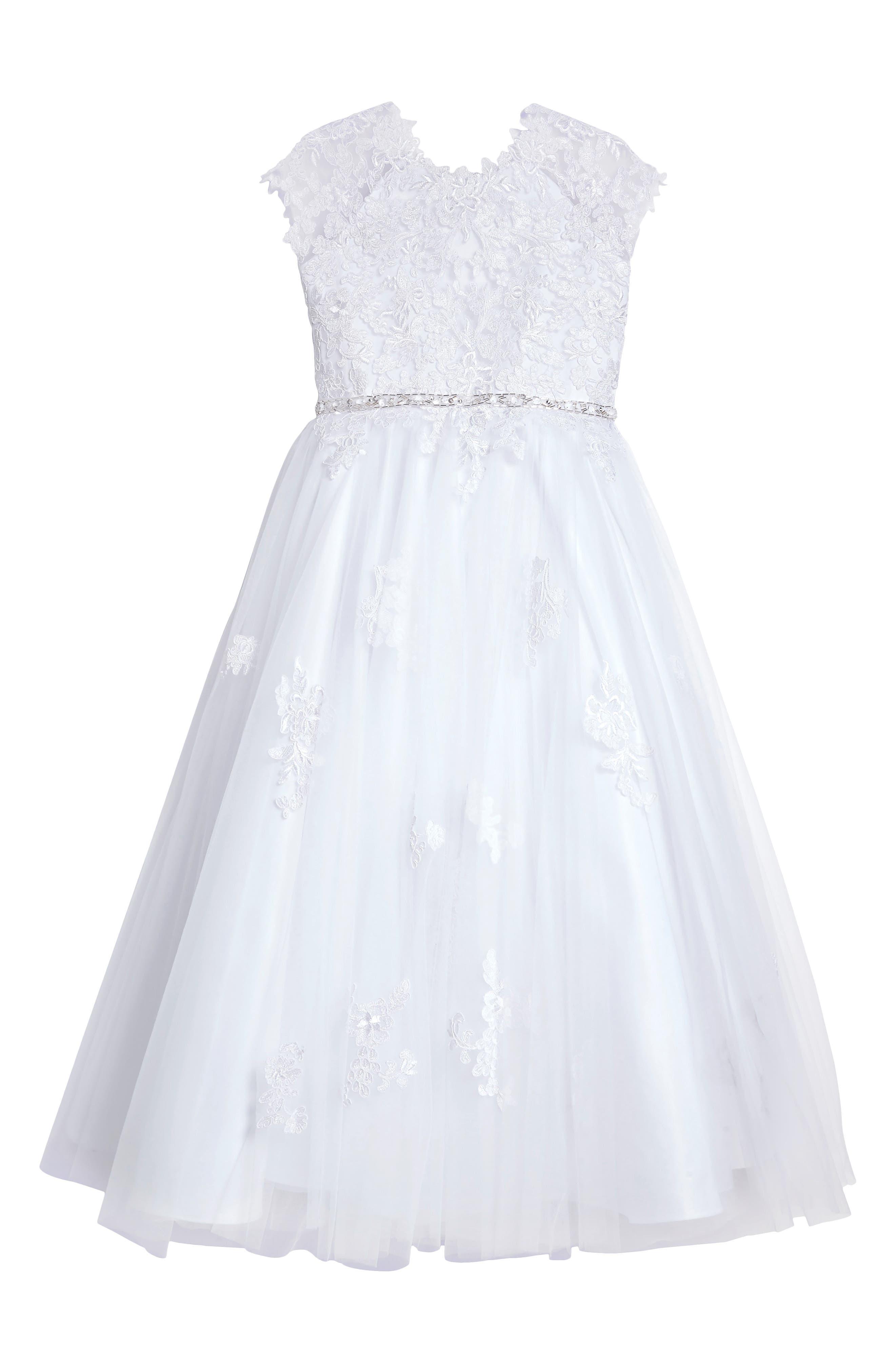Lace Appliqué Tulle First Communion Dress,                         Main,                         color,